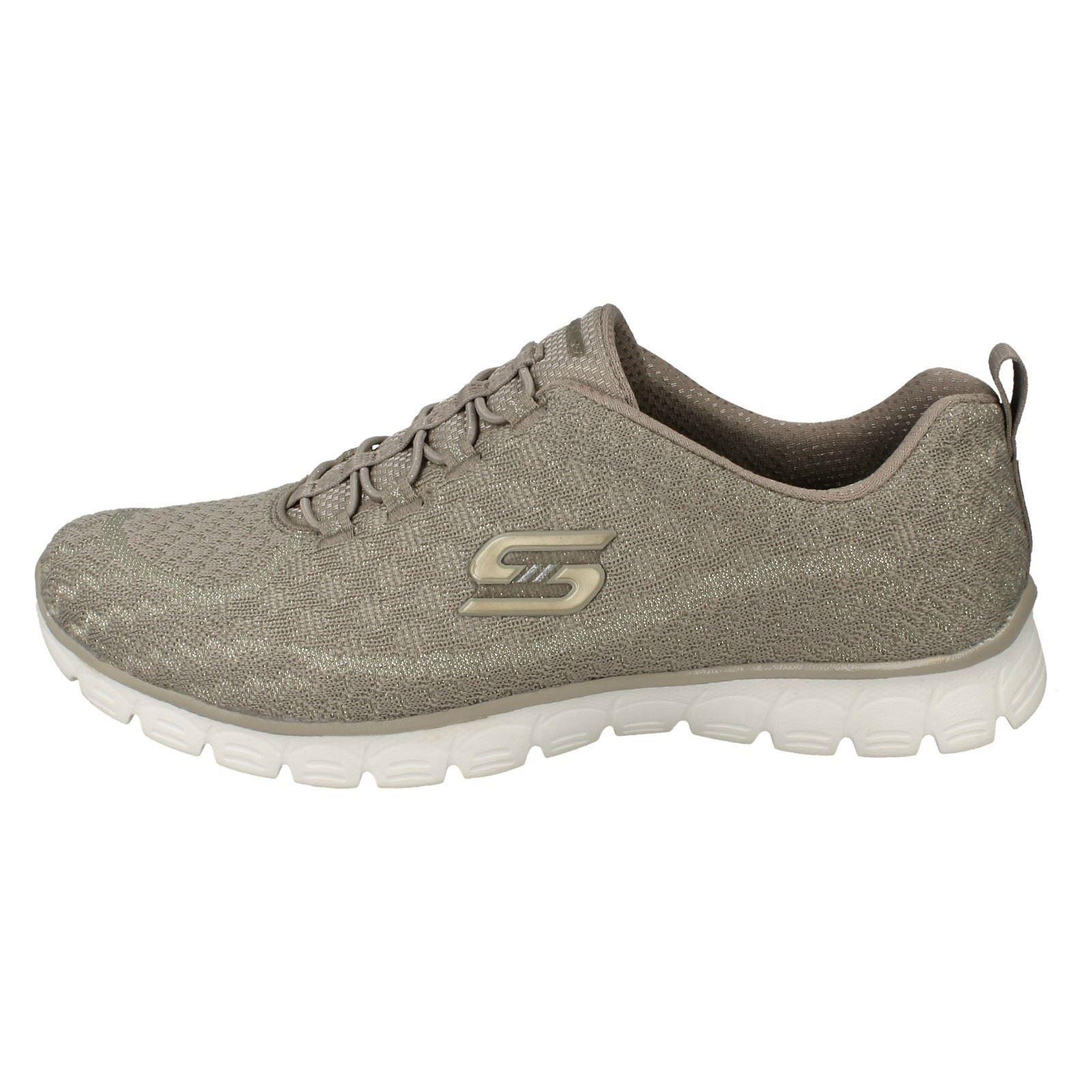 Zapatillas para Glitter Slip 23412 Skechers beige Estrella mujer Taupe Textile On rrnfxA7w