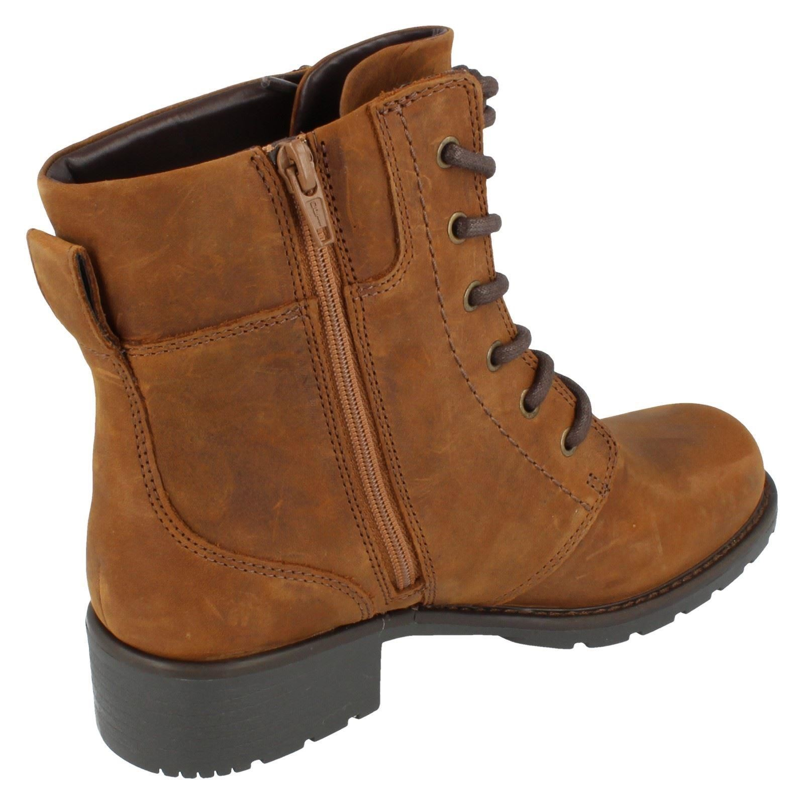 Ladies-Clarks-Casual-Lace-Up-Inside-Zip-Nubuck-Leather-Ankle-Boots-Orinoco-Spice thumbnail 15