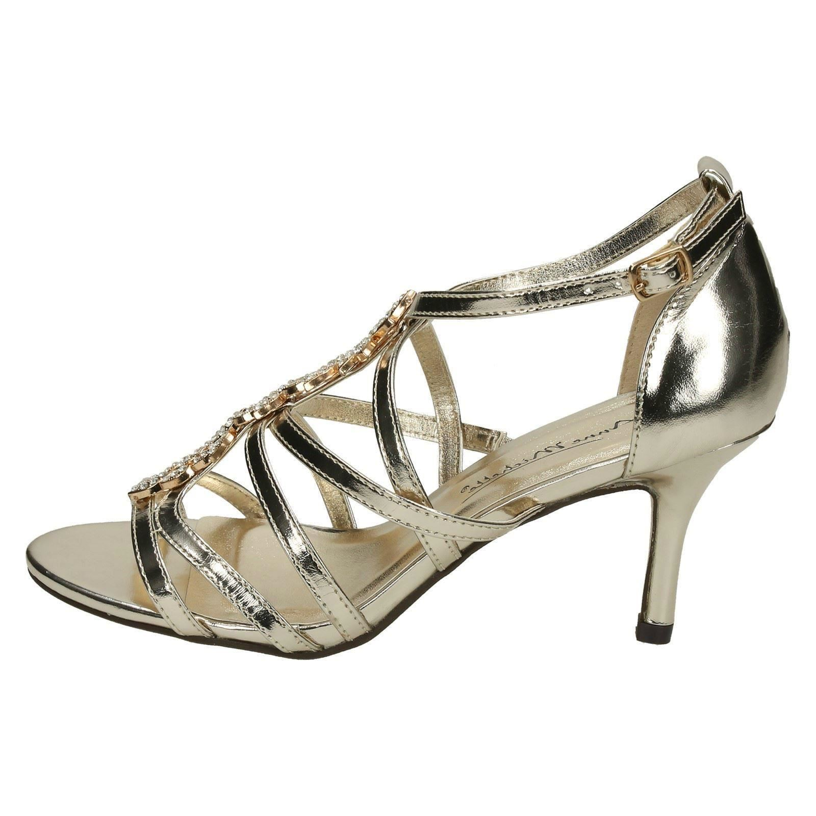 58e9a187fce Ladies Anne Michelle Mid Heel Strappy Sandals F10582 Gold UK 3 Standard.  About this product. Picture 1 of 10  Picture 2 of 10  Picture 3 of 10 ...