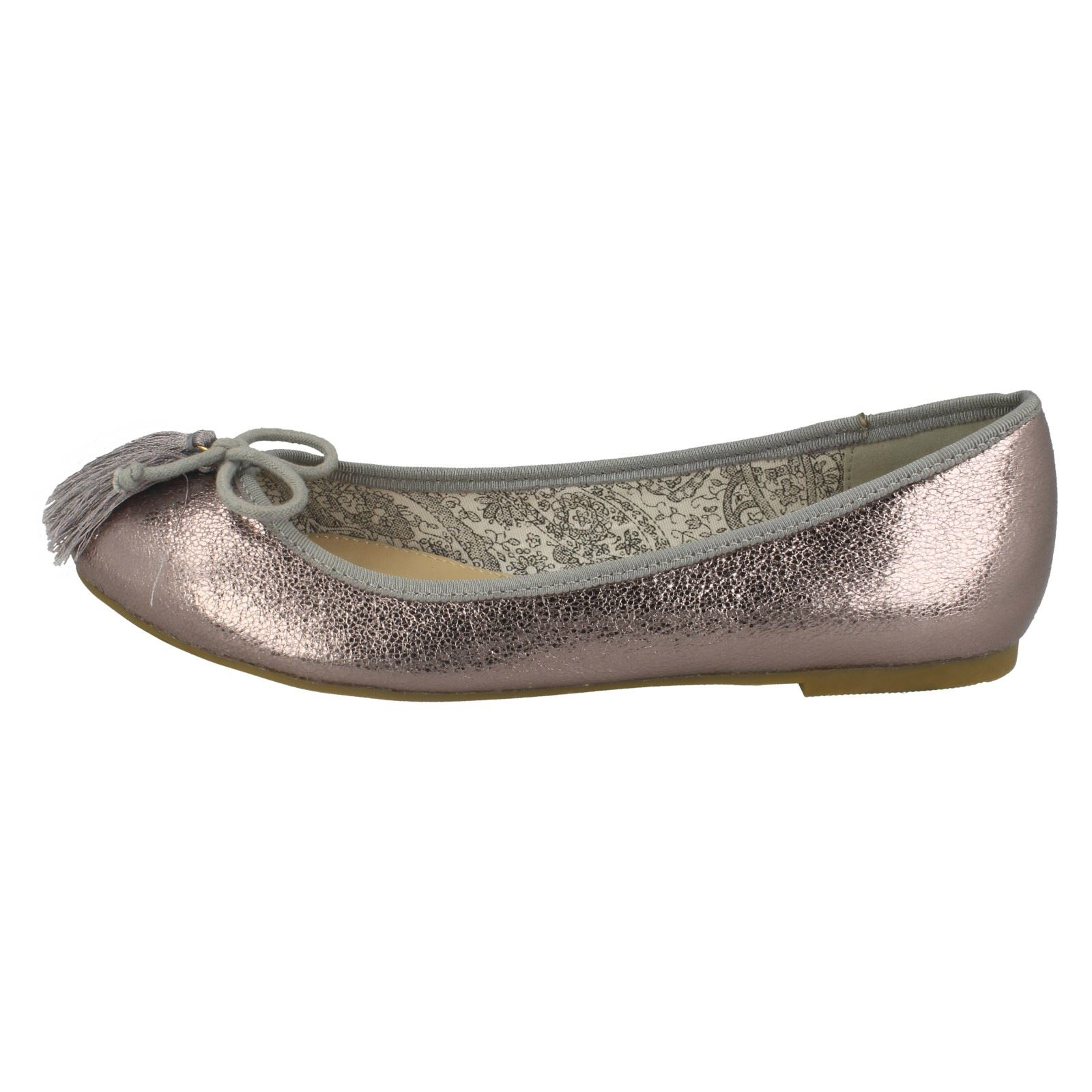 Ladies Spot On Flat Ballerinas With /'Tassel Bow Trim/'
