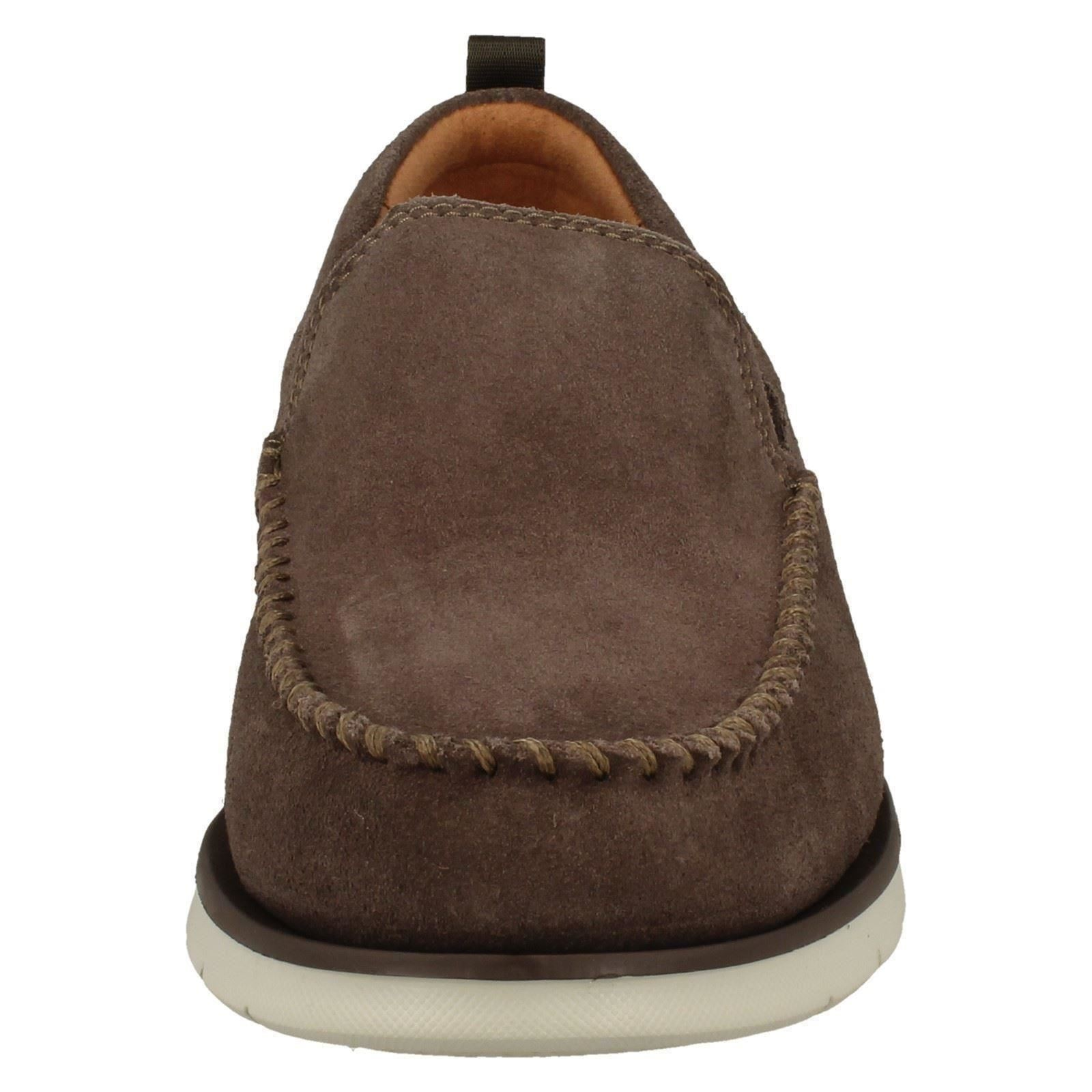 Mens Clarks Casual Slip On Suede Leather Shoes - Edgewood Step