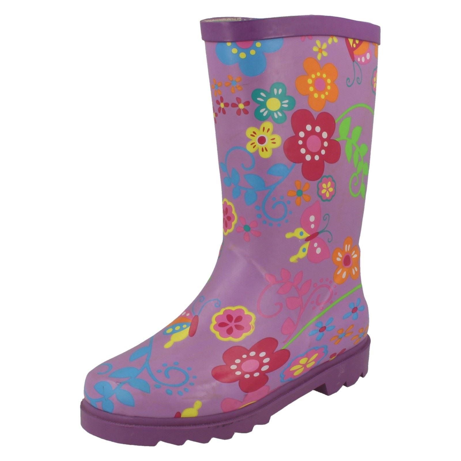 Girls Spot On Flower Print Detail Wellington Boots X1062