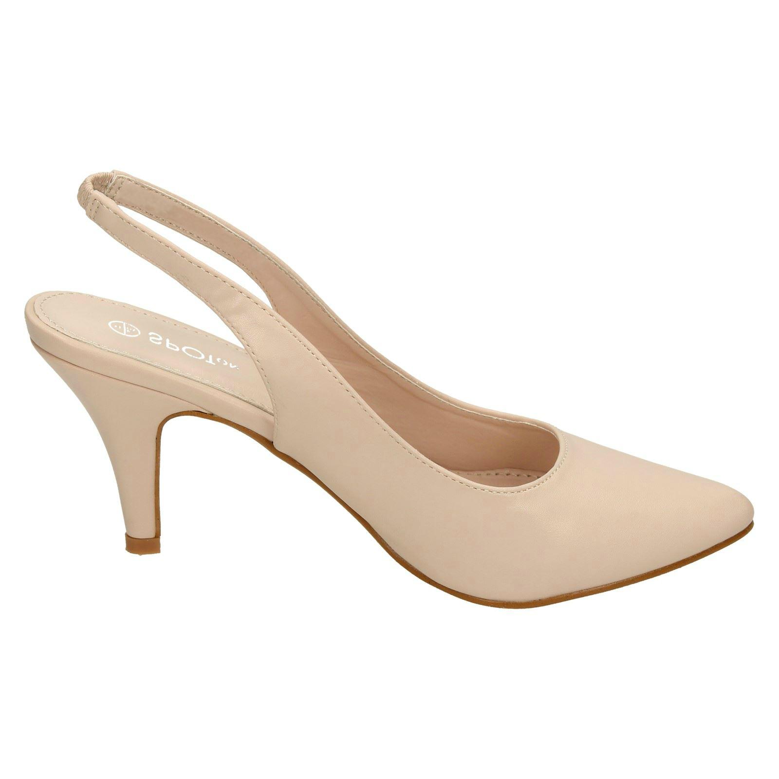 Navy Sling Back Court Shoes Mid Heel Uk