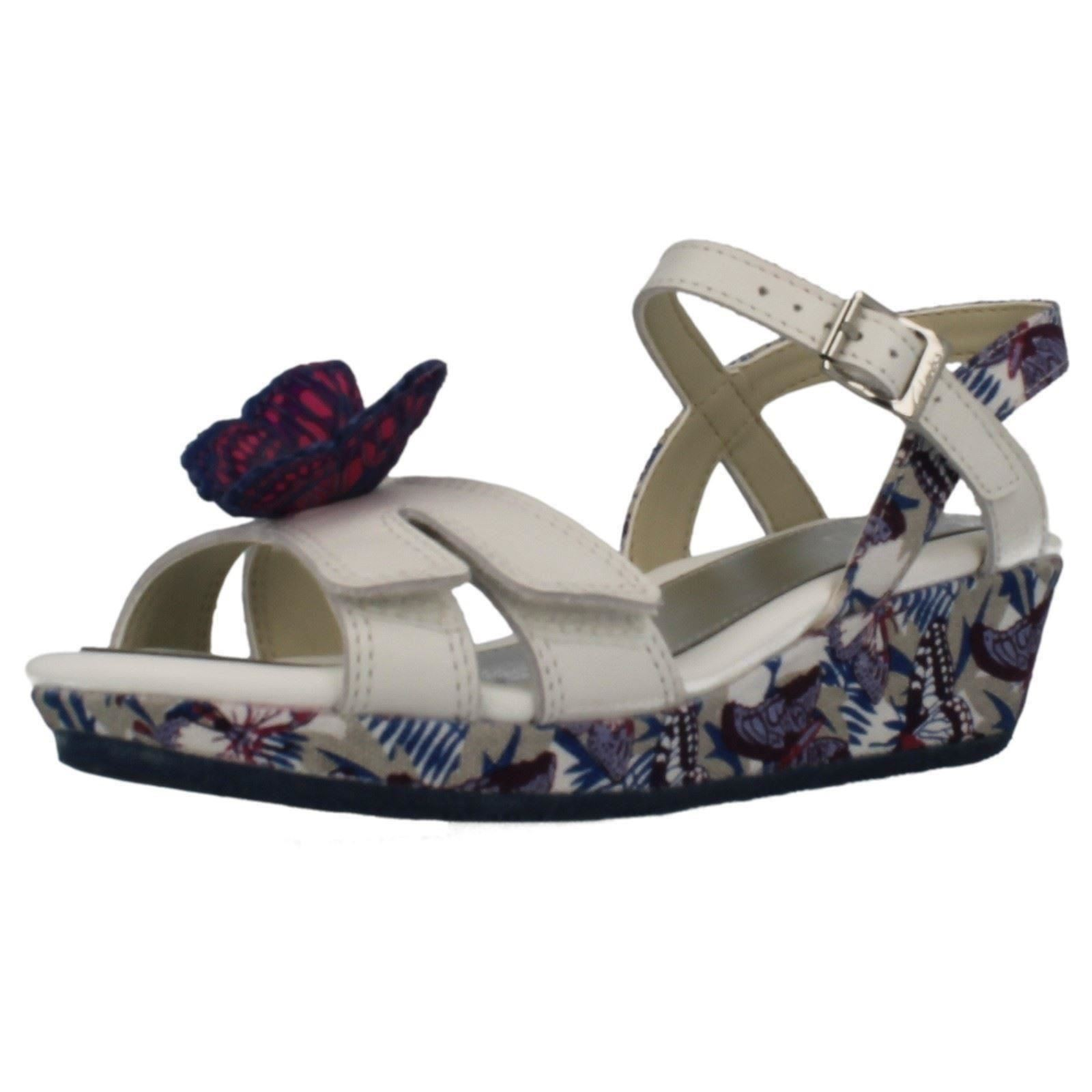 Girls Clarks Butterfly Print Wedge Sandals 'Harpy Fly'