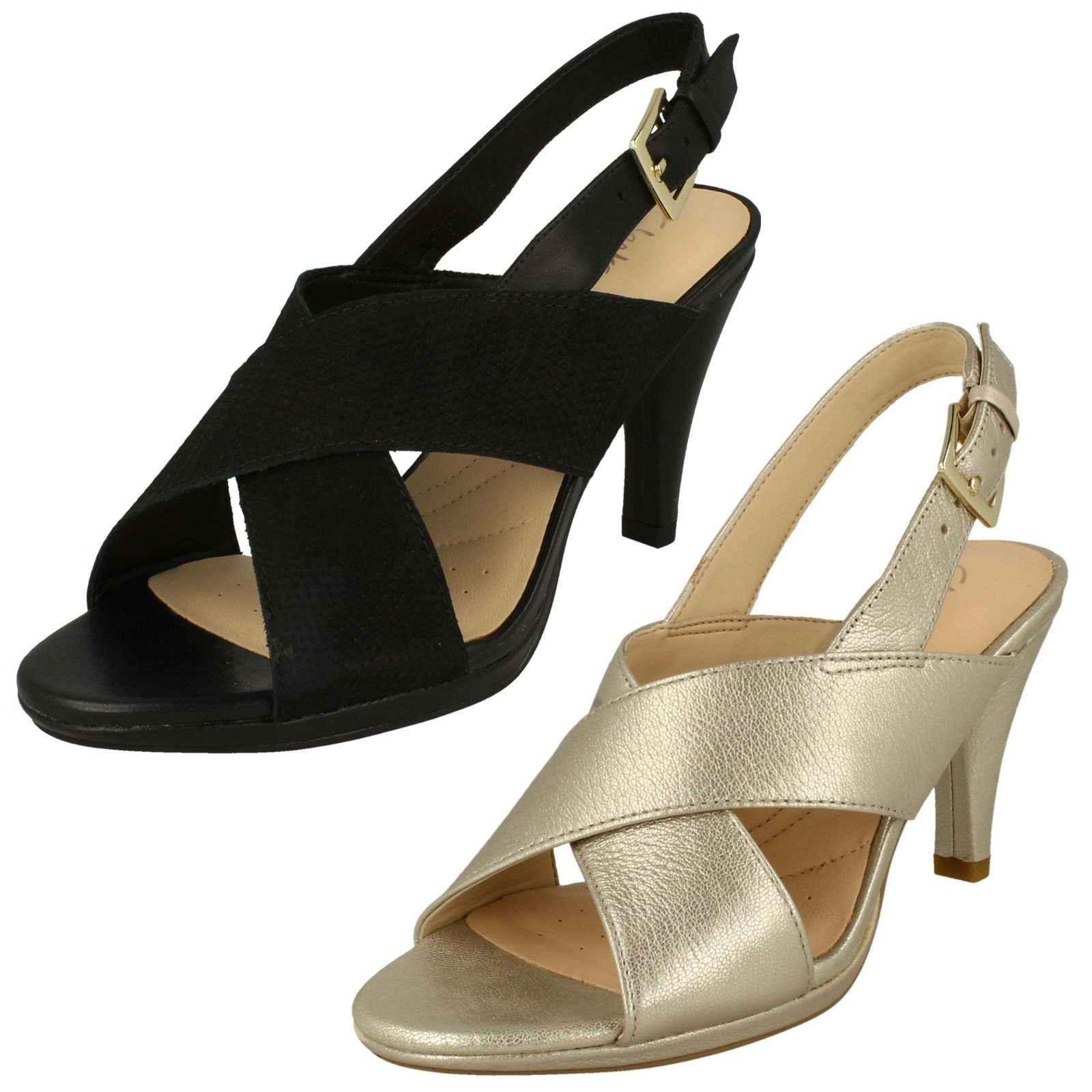 Details about Womens Clarks Heeled Slingback Sandals 'Dalia Lotus'