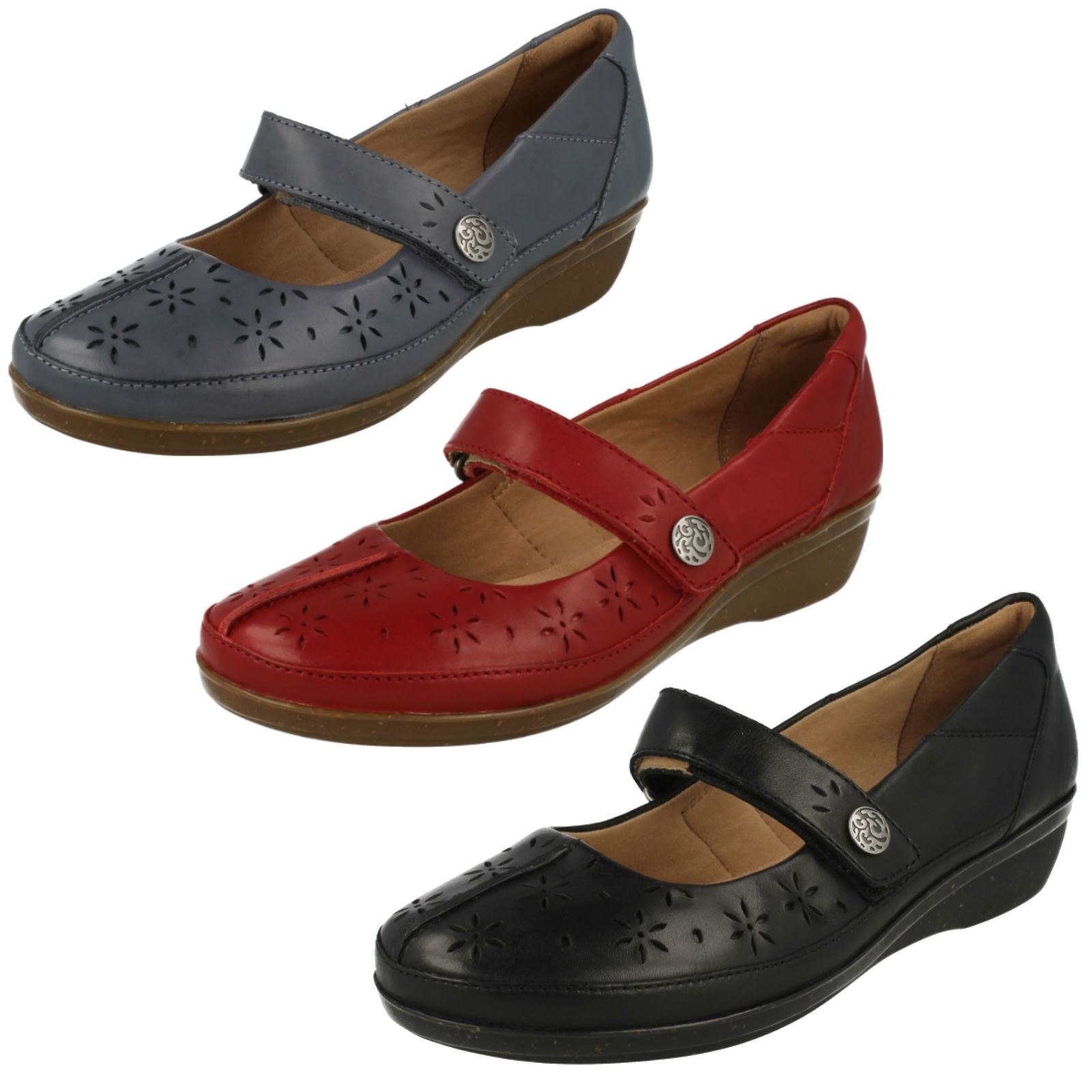 61464292de9 Details about Ladies Clarks Cushion Soft Casual Hook   Loop Leather Shoes  Everlay Bai