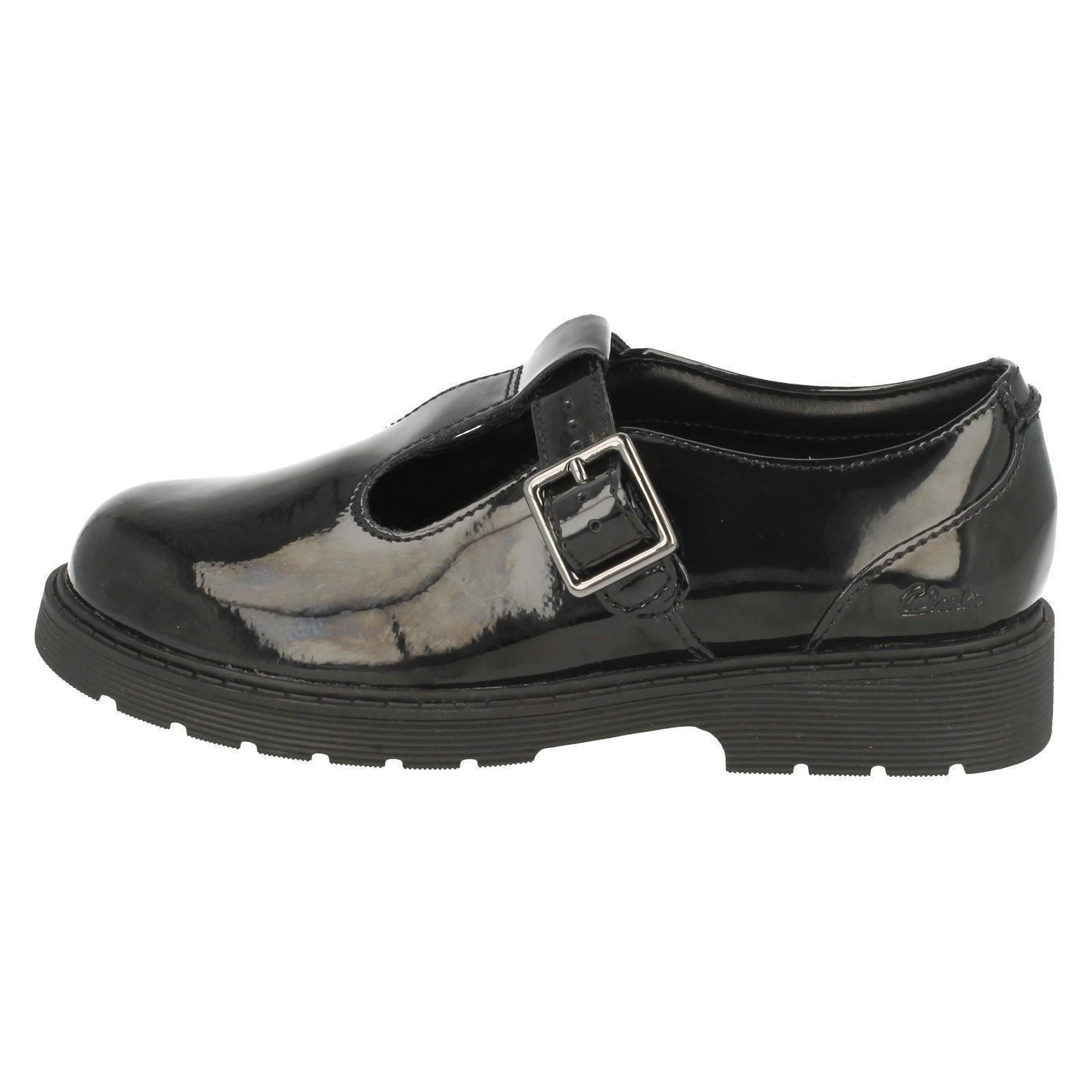 a8f2d2c6182f Girls Bootleg by Clarks Buckle Fastening T-Bar Leather School Shoes ...