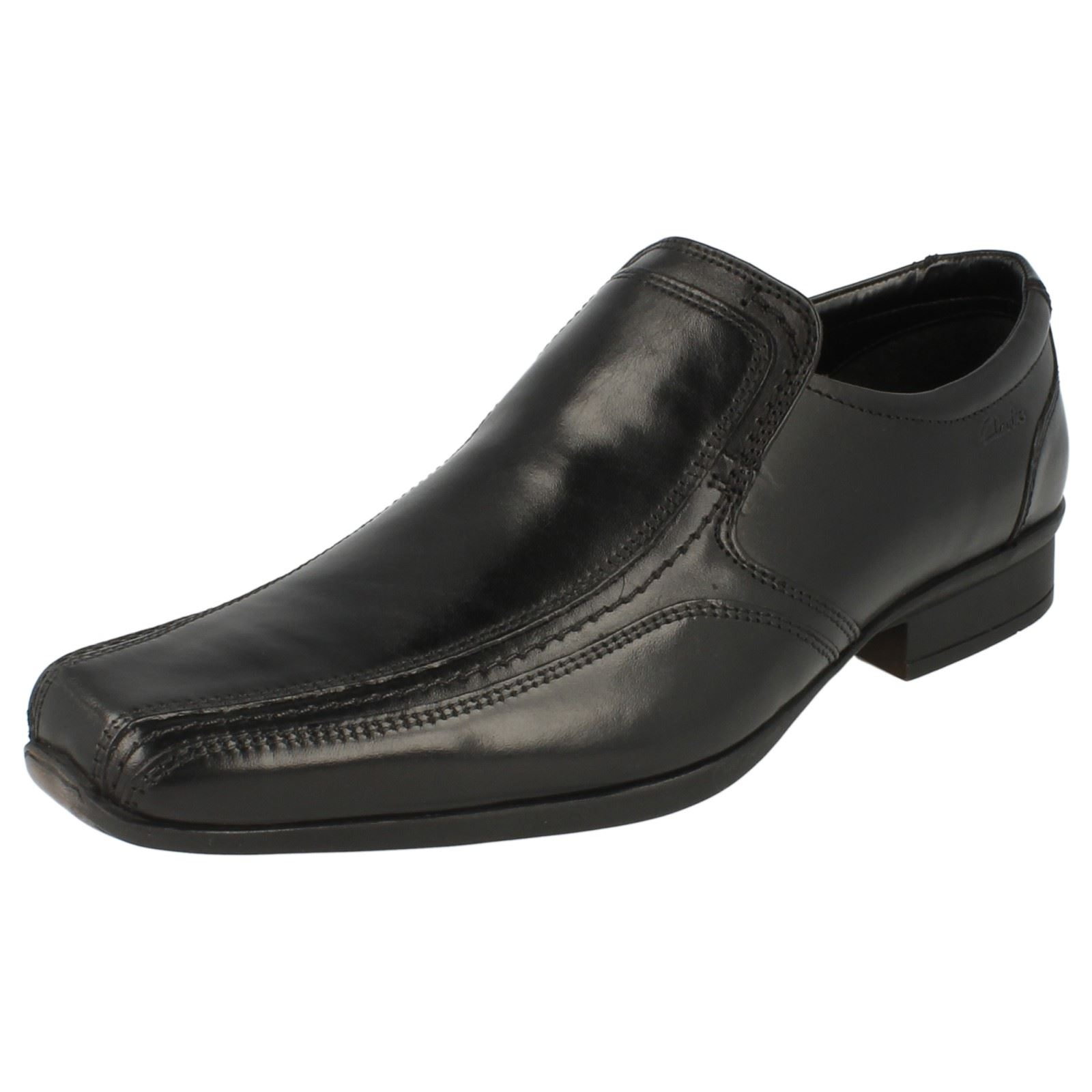 Clarks Baffix Step Black Leather Slip On Shoe G Fitting Kett 38B
