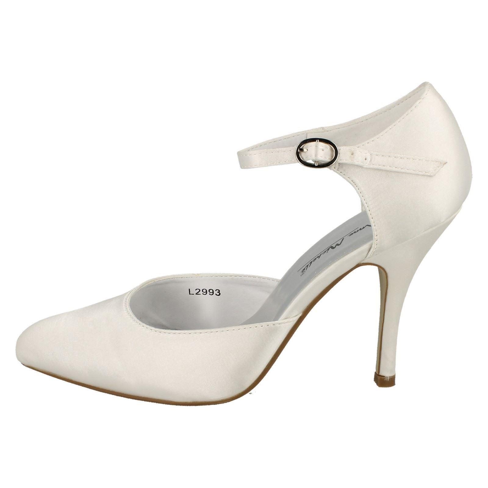 Donna-Anne-Michelle-alto-con-tacchi-da-sposa-in-raso-Scarpe-l2993