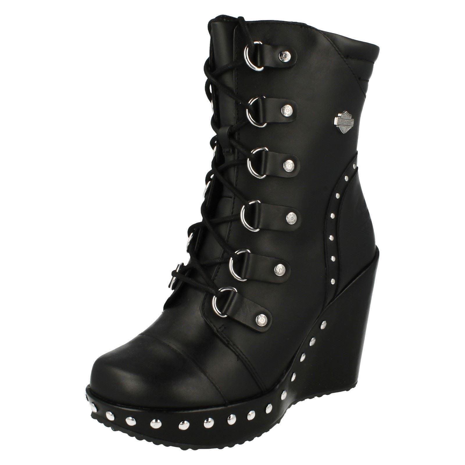 ladies harley davidson sandra black wedge biker ankle boots d83746