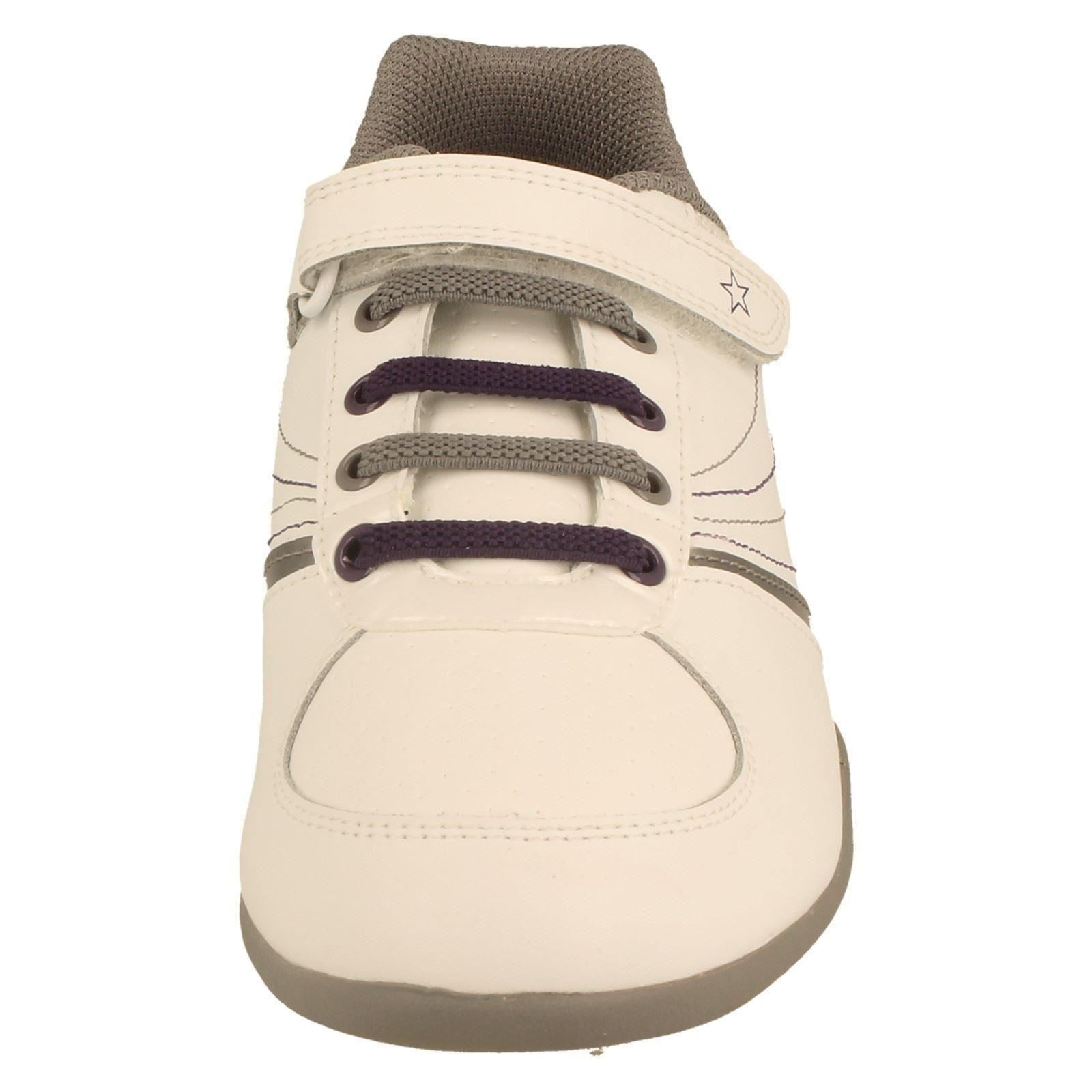 Senior Girls Bootleg by Clarks Leather Hook & Loop Riptape Trainers - Bling Chic