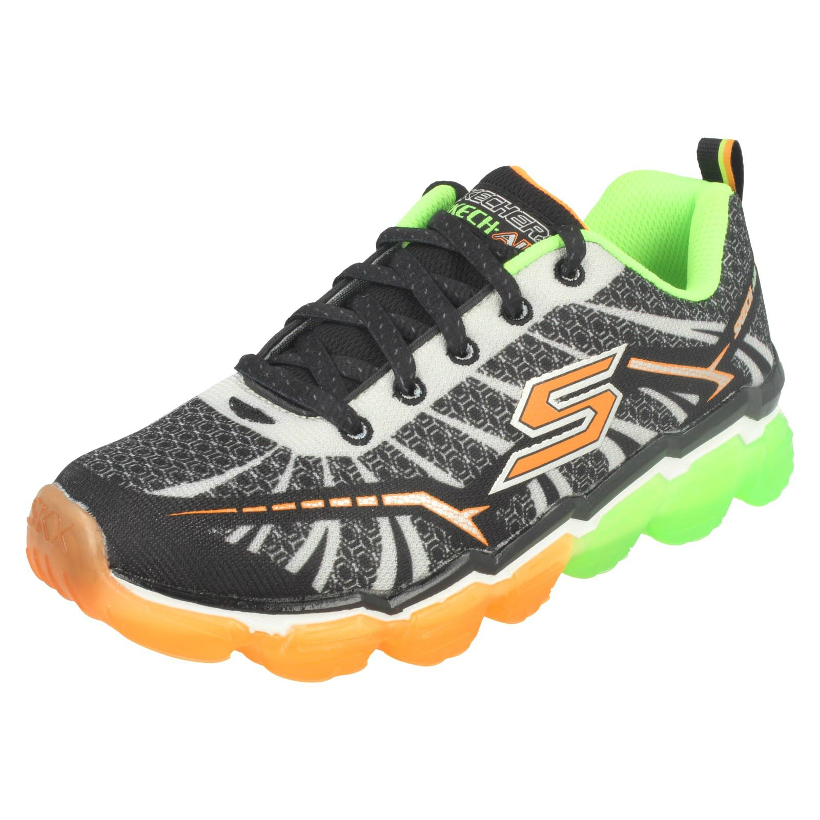 9bc8478b27d8 Boys Skechers Turbo Shock Lace up Comfortable Casual Trainers 95108 ...