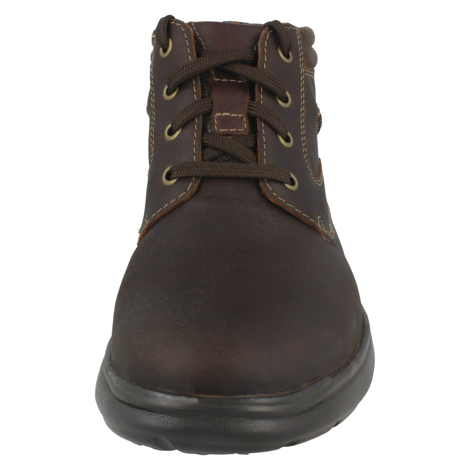 a6ae90621fc Details about Mens Clarks Casual Lace Up Leather & Textile Ankle Boots  Cotrell Rise