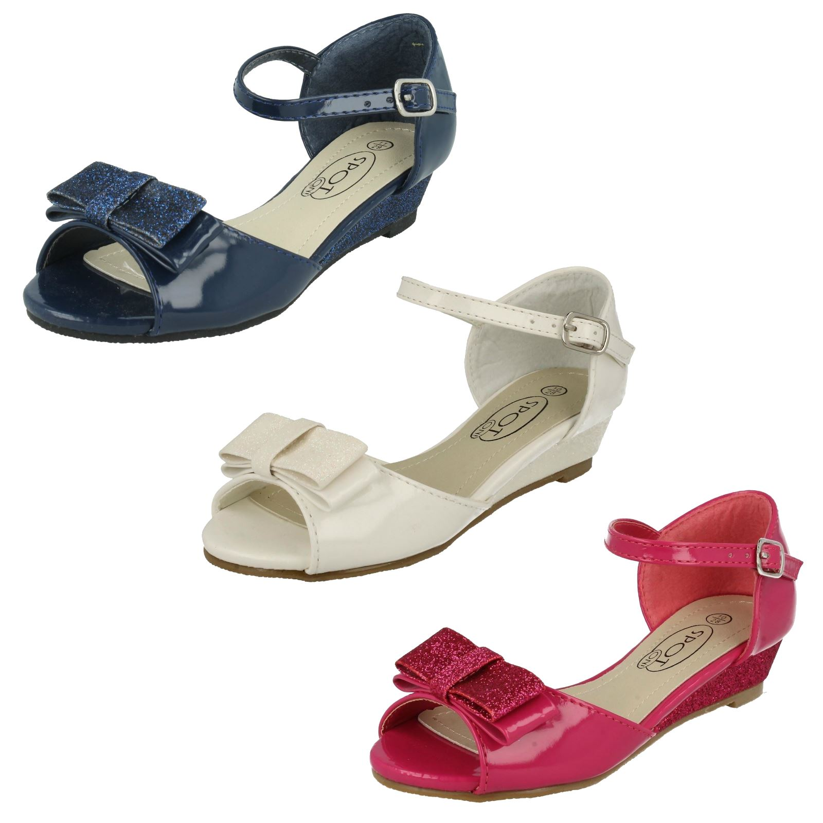 Details about  /GIRLS SPOT ON H0R317 OPEN TOE TWIN BUCKLE SLIP ON MULES GLITTER SUMMER SANDALS