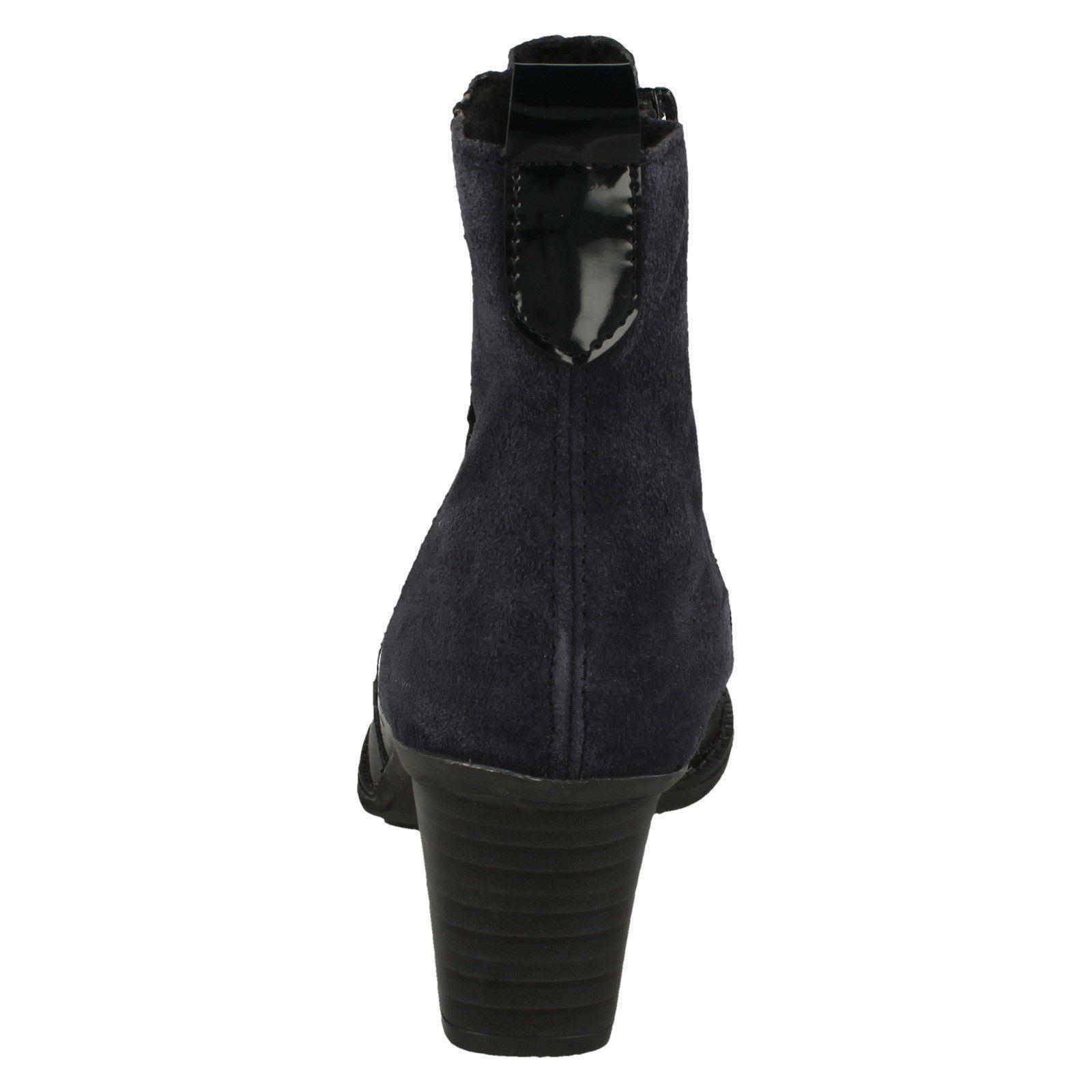 Rieker Ladies Heeled Blue Ankle Patchwork Boots Z7686 P4Cwad