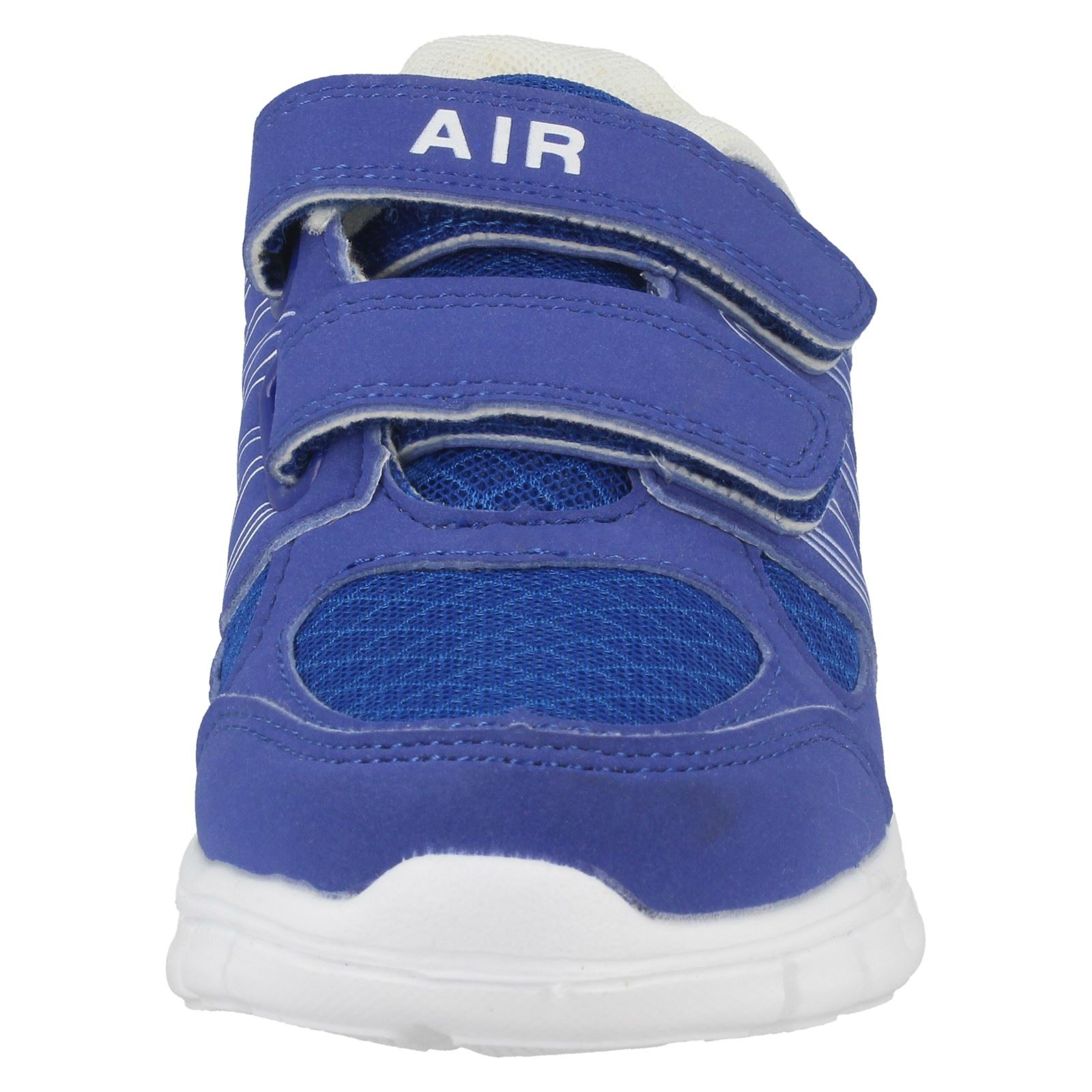 4deb59946873 Childrens Boys Girls Air Tech Textile Hook   Loop Fastening Trainers ...