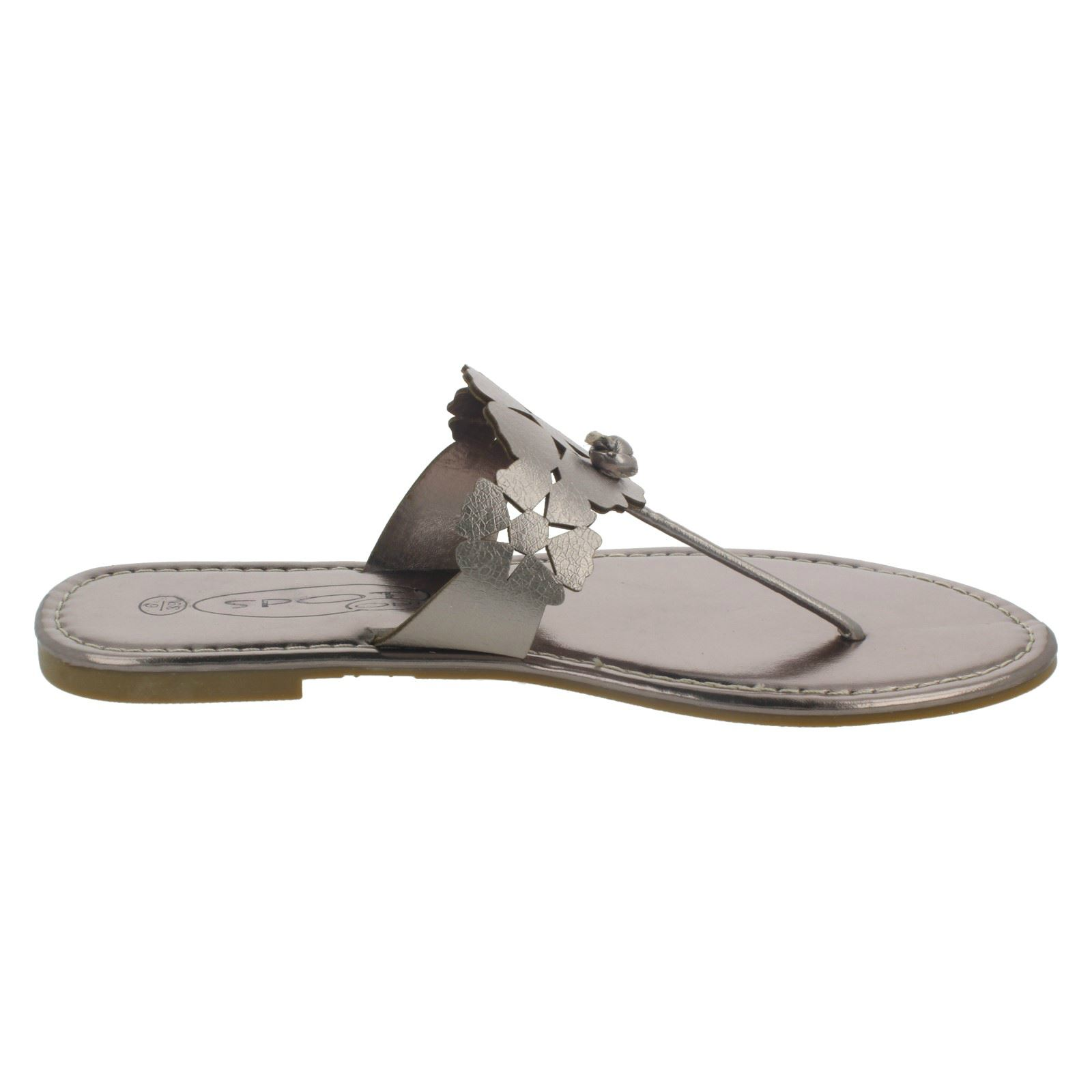 Damas Spot on Flat Sandalias Toe Post Con Diseño De Flores-F0391
