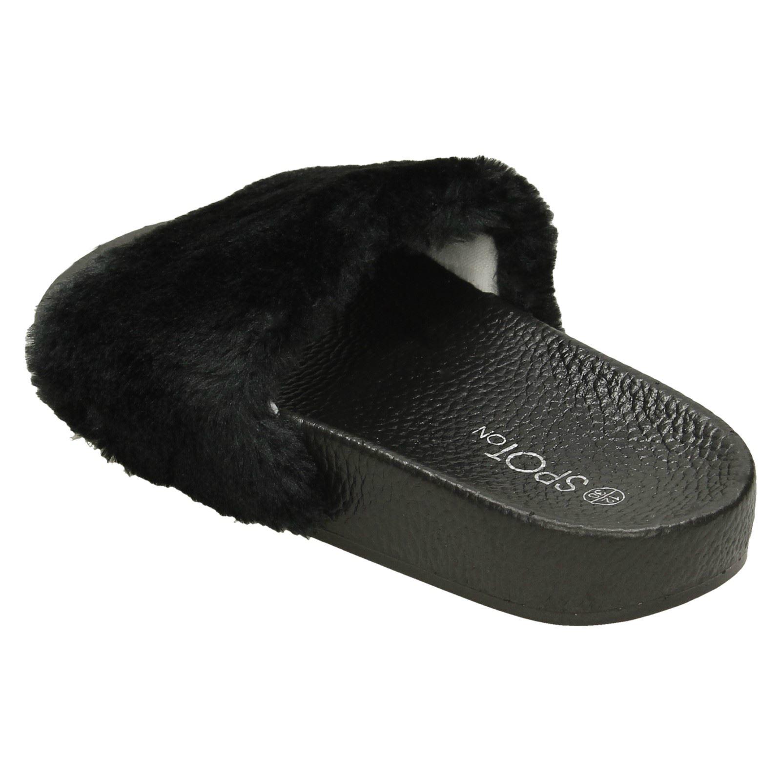 Spot On Girls Faux Fur Slider Mules