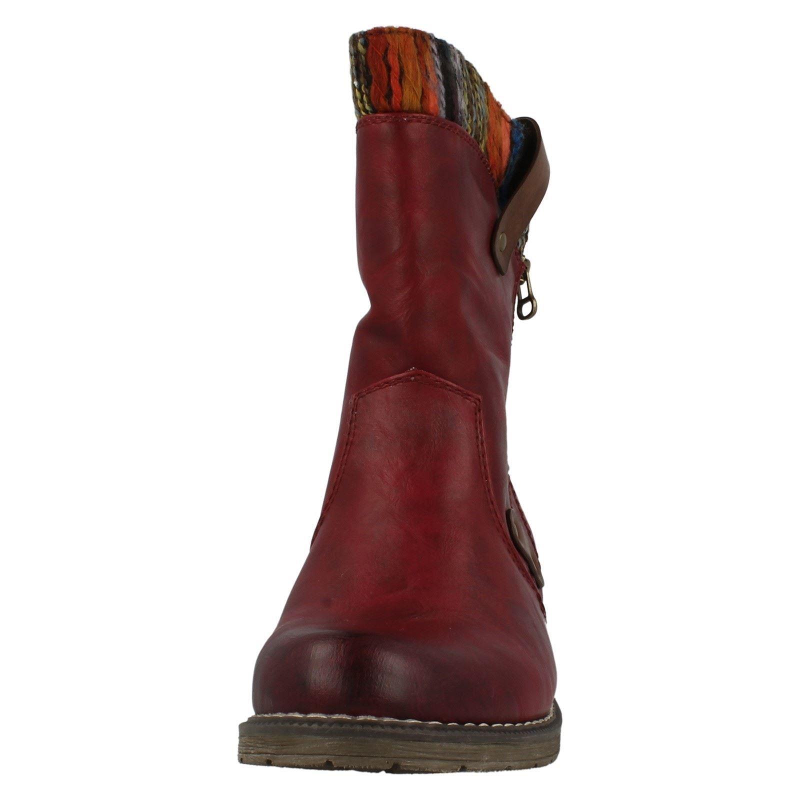 style Combi pour rouge dames de Bottes 95891 courtes Rieker motardes q6xC8XEwC