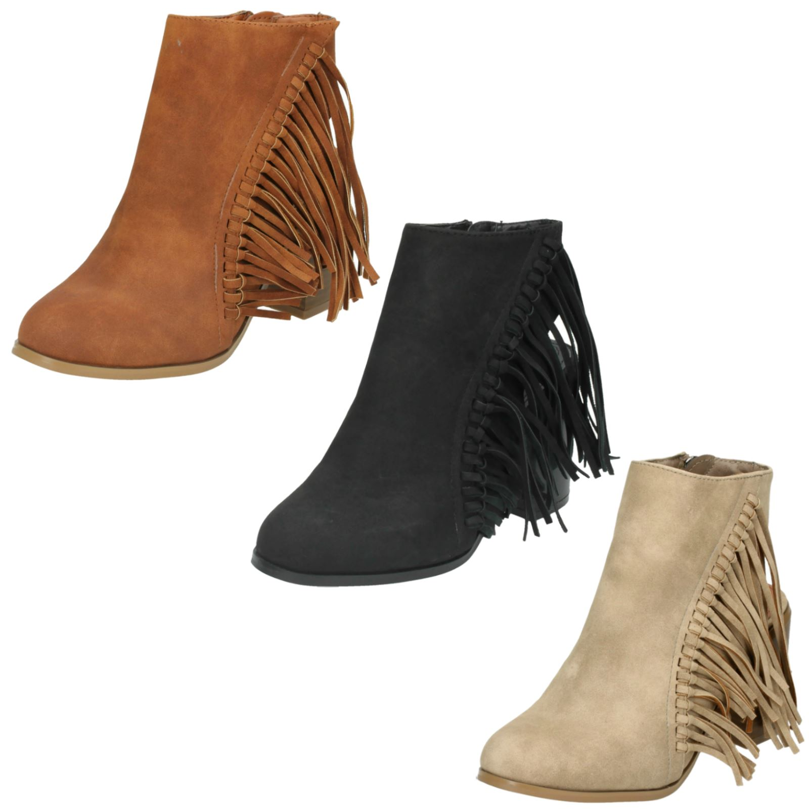 Ladies Spot On Casual Cut Out Heel Ankle Boots
