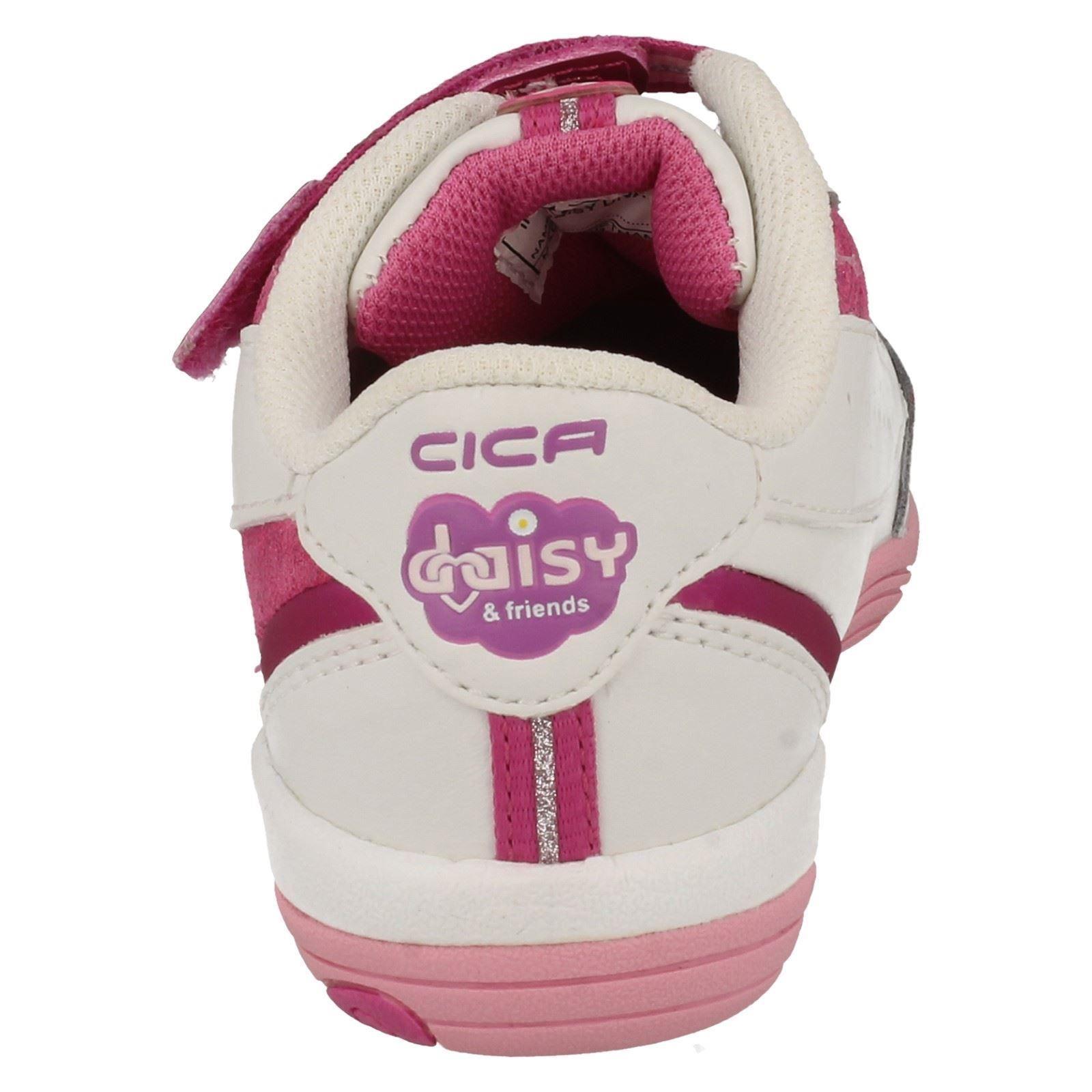 Girls Cica by Clarks Hook & Loop Riptape Fastening Trainer 'Daisy Diva'