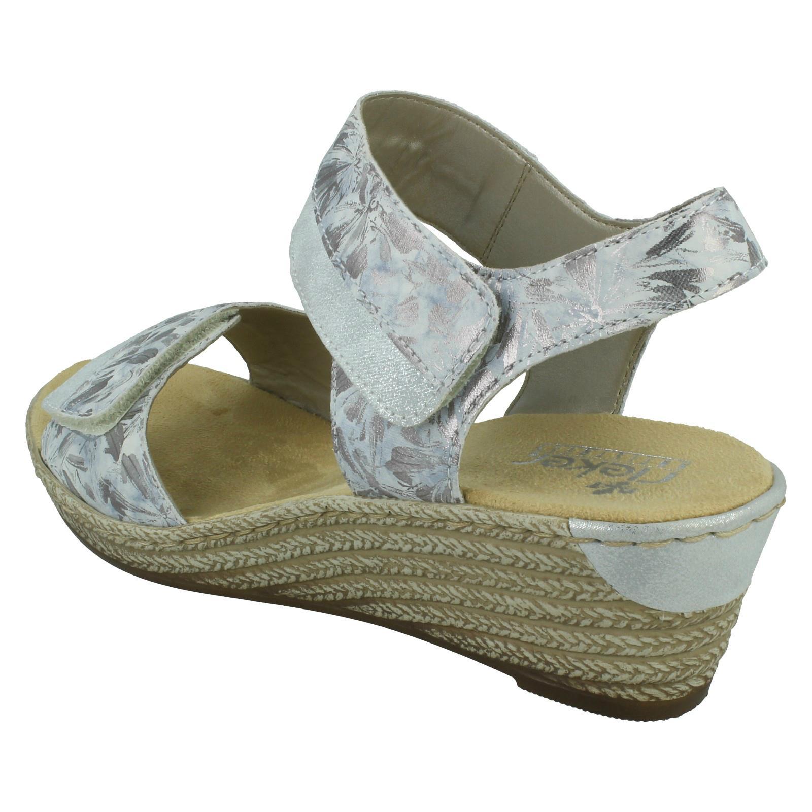 Details zu Damen rieker Keilabsatz Haken & Schlaufe Sandalen 62470
