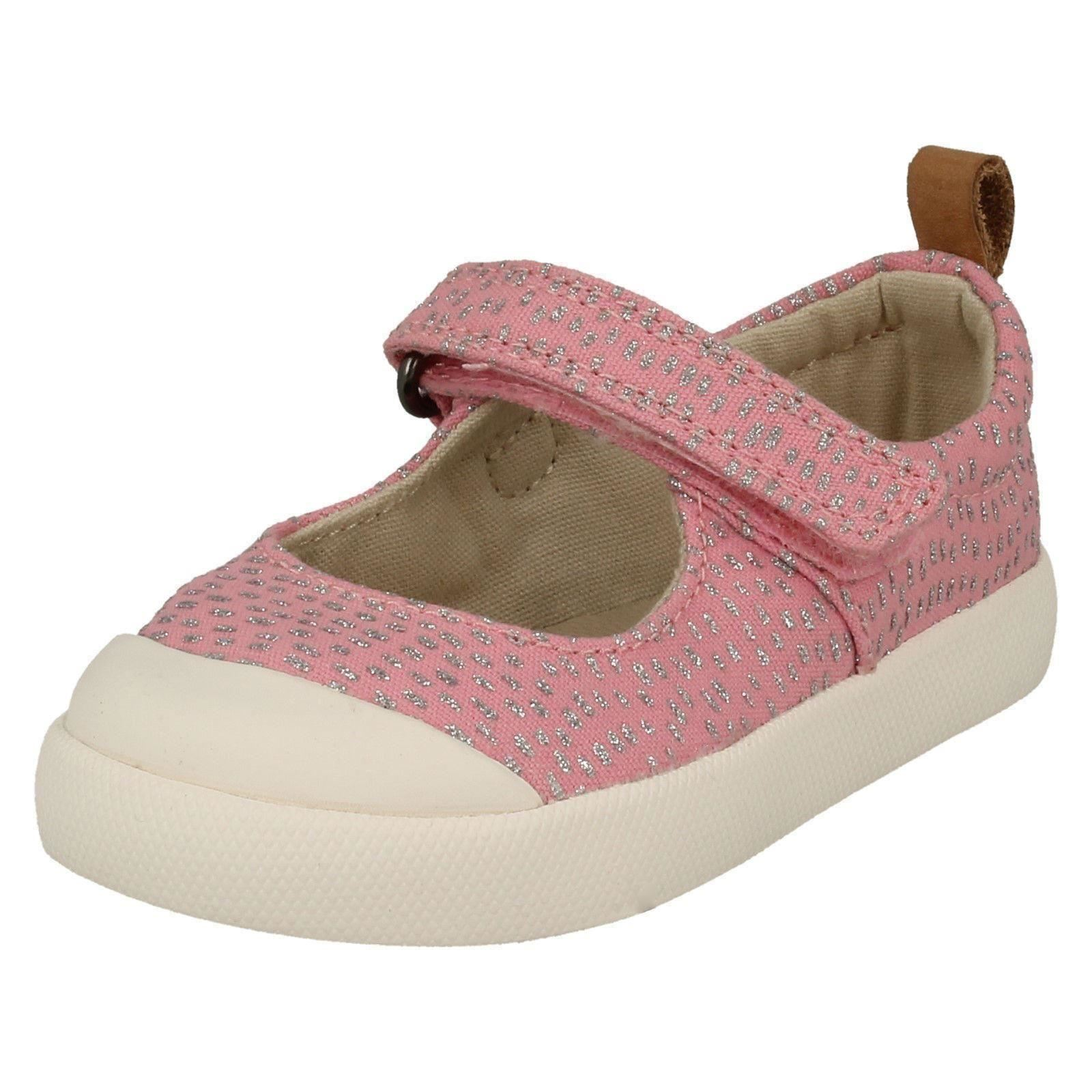 Infant Baby Girls Clarks Casual Mary Jane Glitter Canvas Shoes Halcy