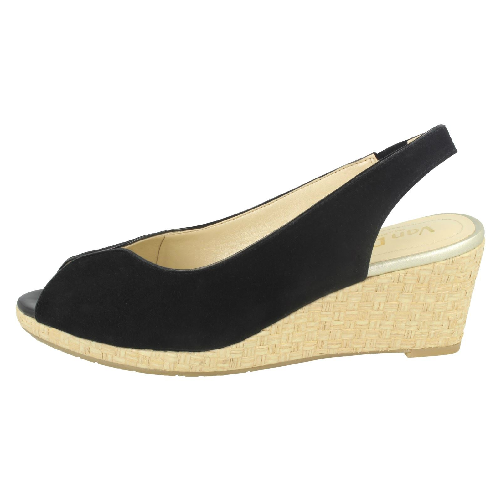 Ladies-Van-Dal-Leather-Wedge-Sandal-With-Woven-Detail-Avalon thumbnail 4