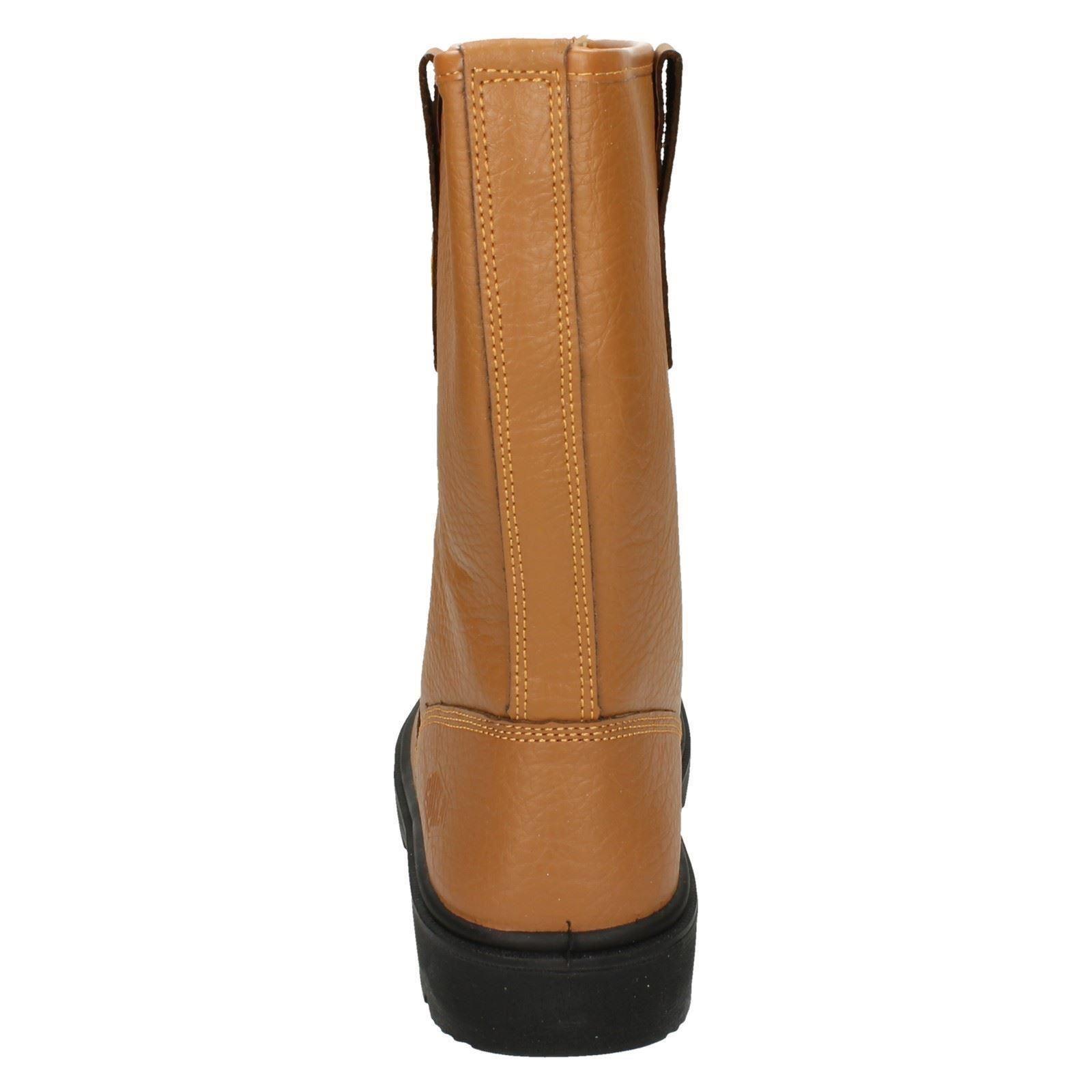 puntale fibbia con marrone con in sicurezza pelle chiaro in marrone di Truka arrotondato uomo acciaio P129sb pelle in stivali Rp464nX