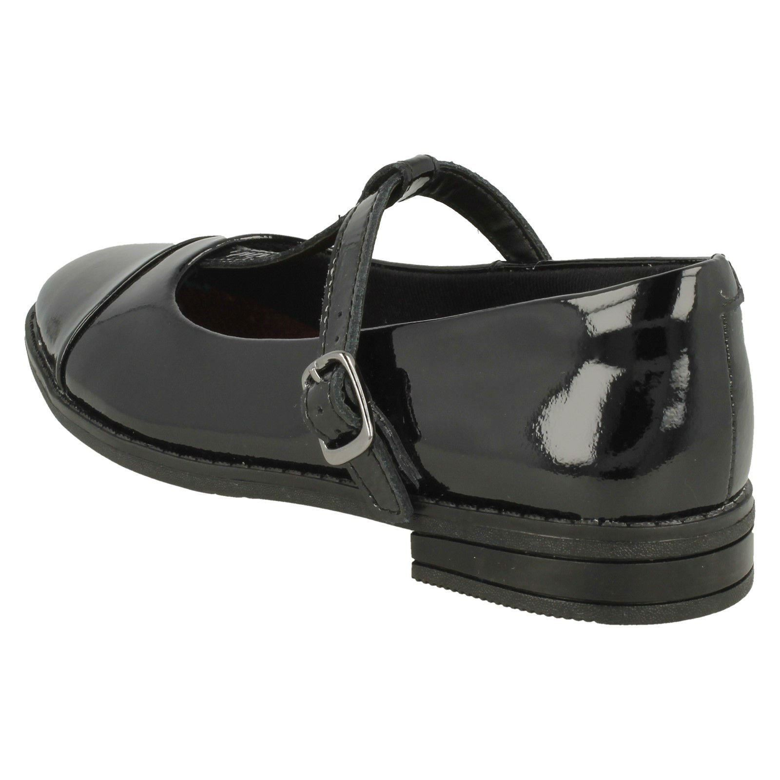 Girls Zapatos Clarks Negro Shine Drew School T Bar UqnwgT