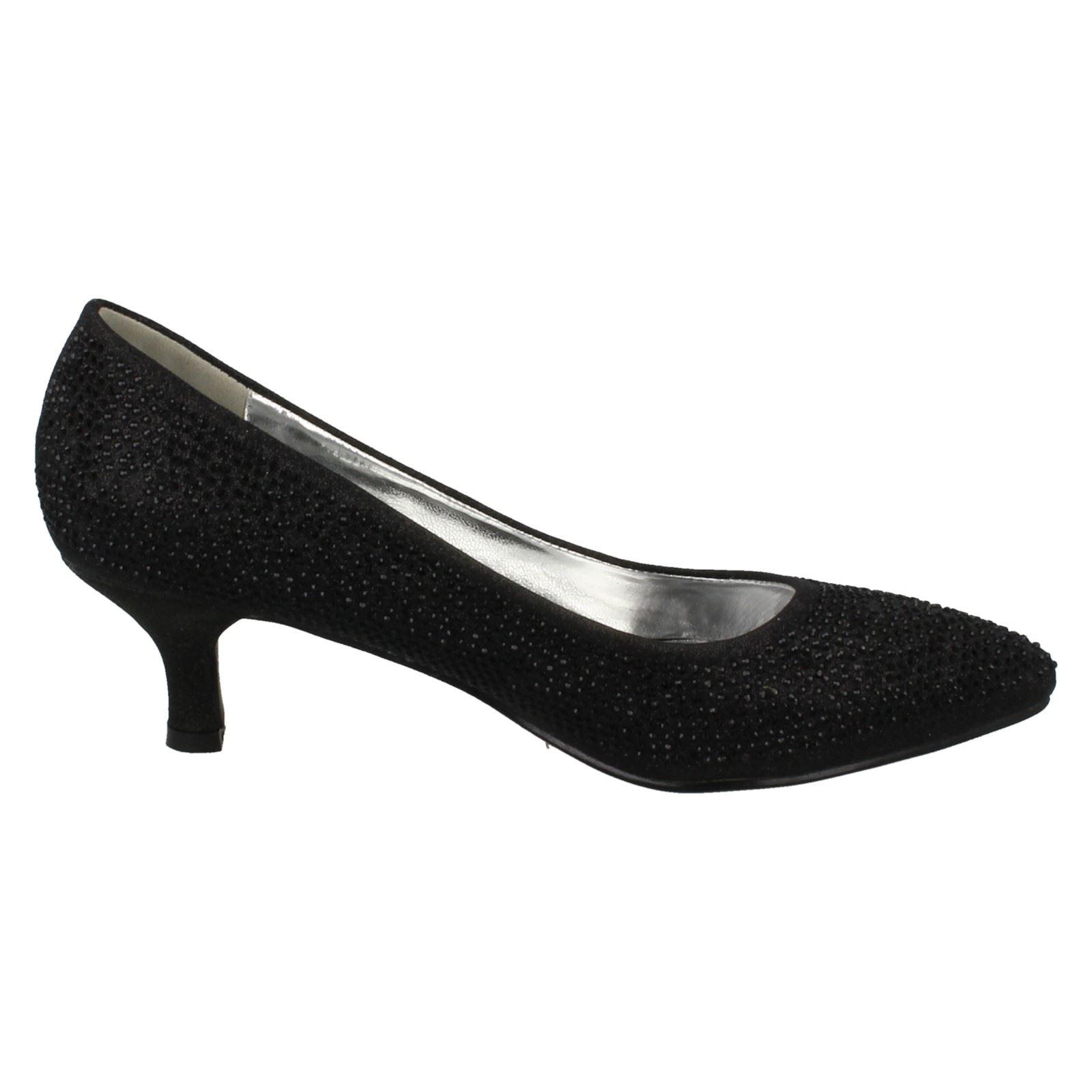 Ladies-Anne-Michelle-Diamante-Low-Heel-Court-Shoes thumbnail 9
