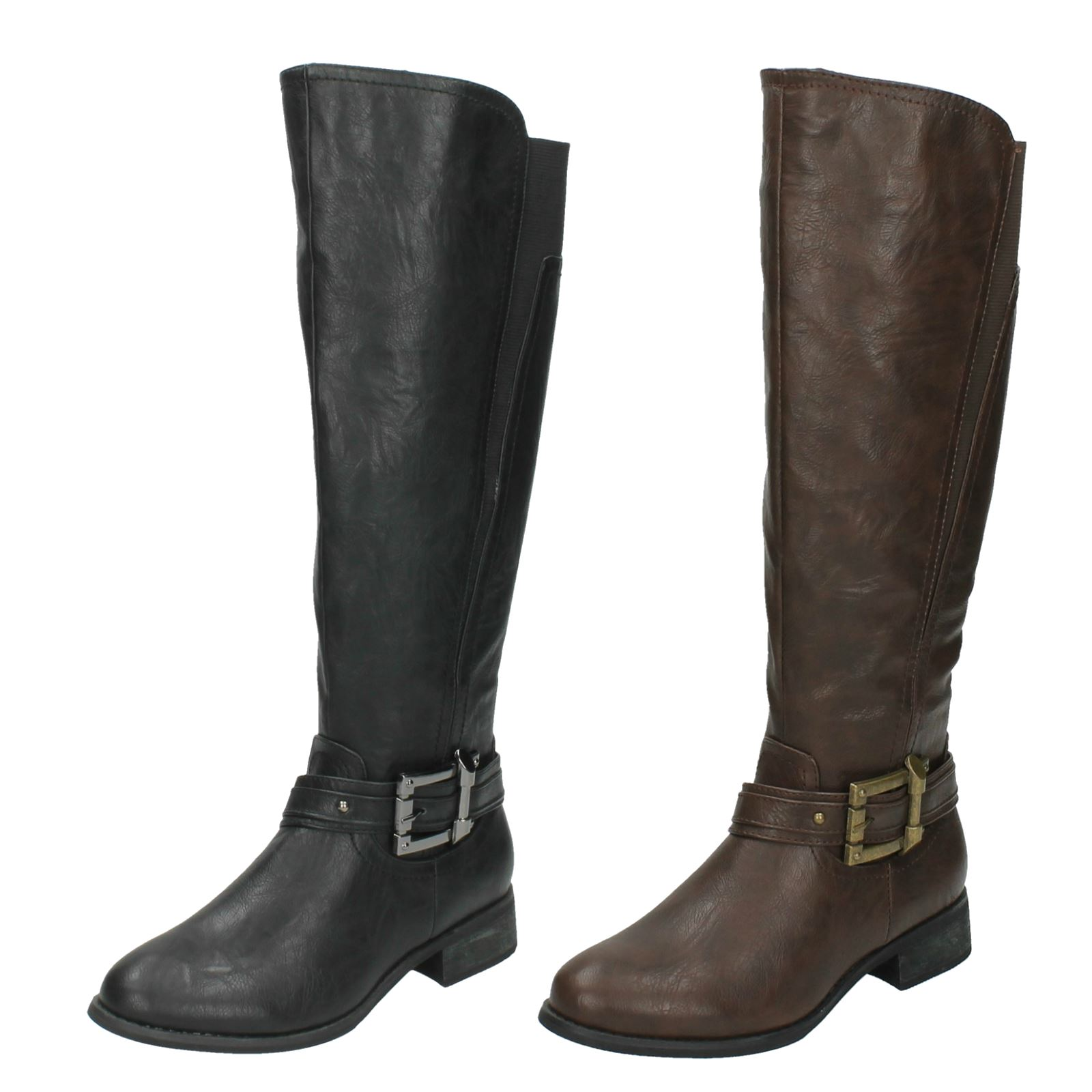 Ladies Spot On Zip Up Knee High Boots