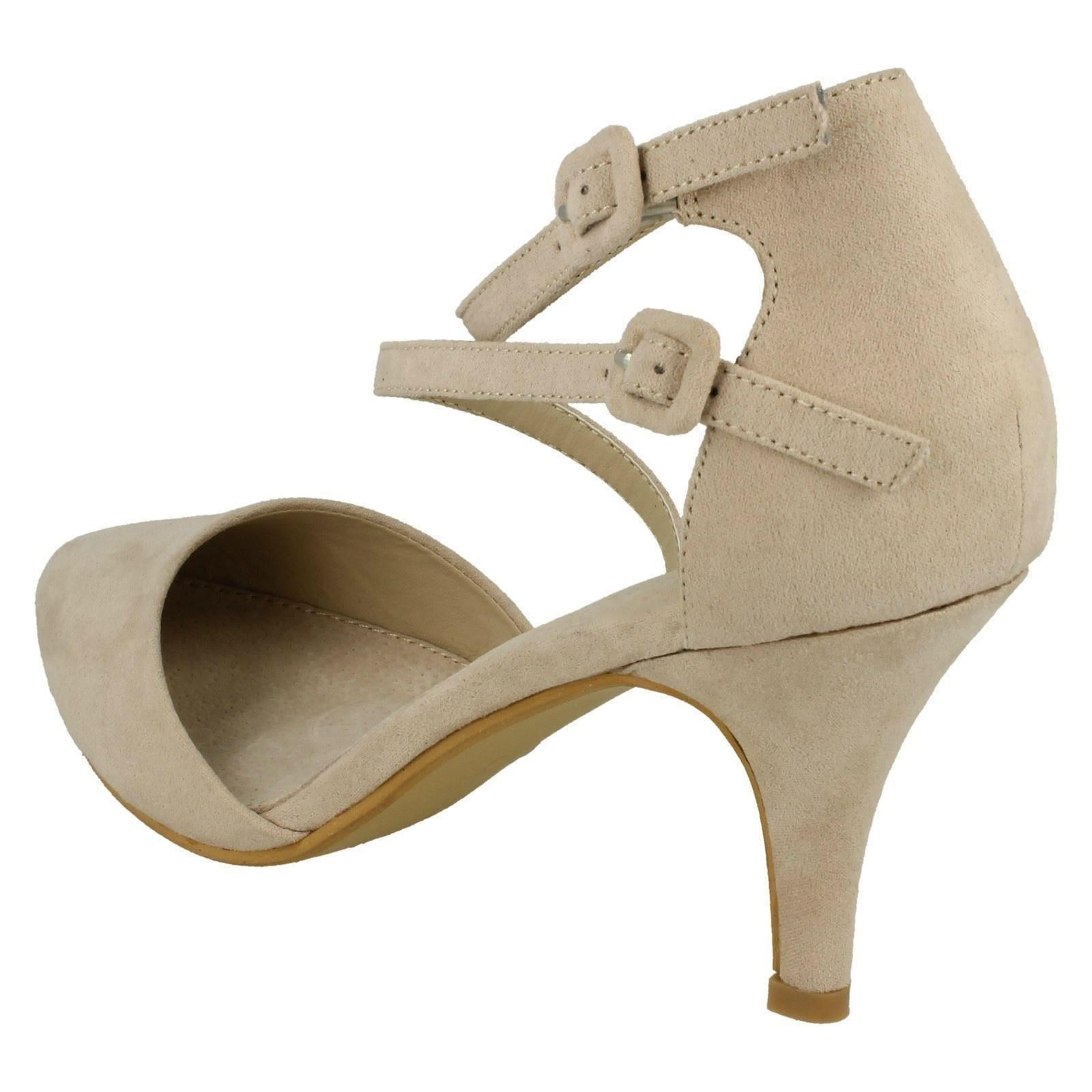 'Ladies Spot On' Rounded Toe Mid Heel Strappy Buckled ...
