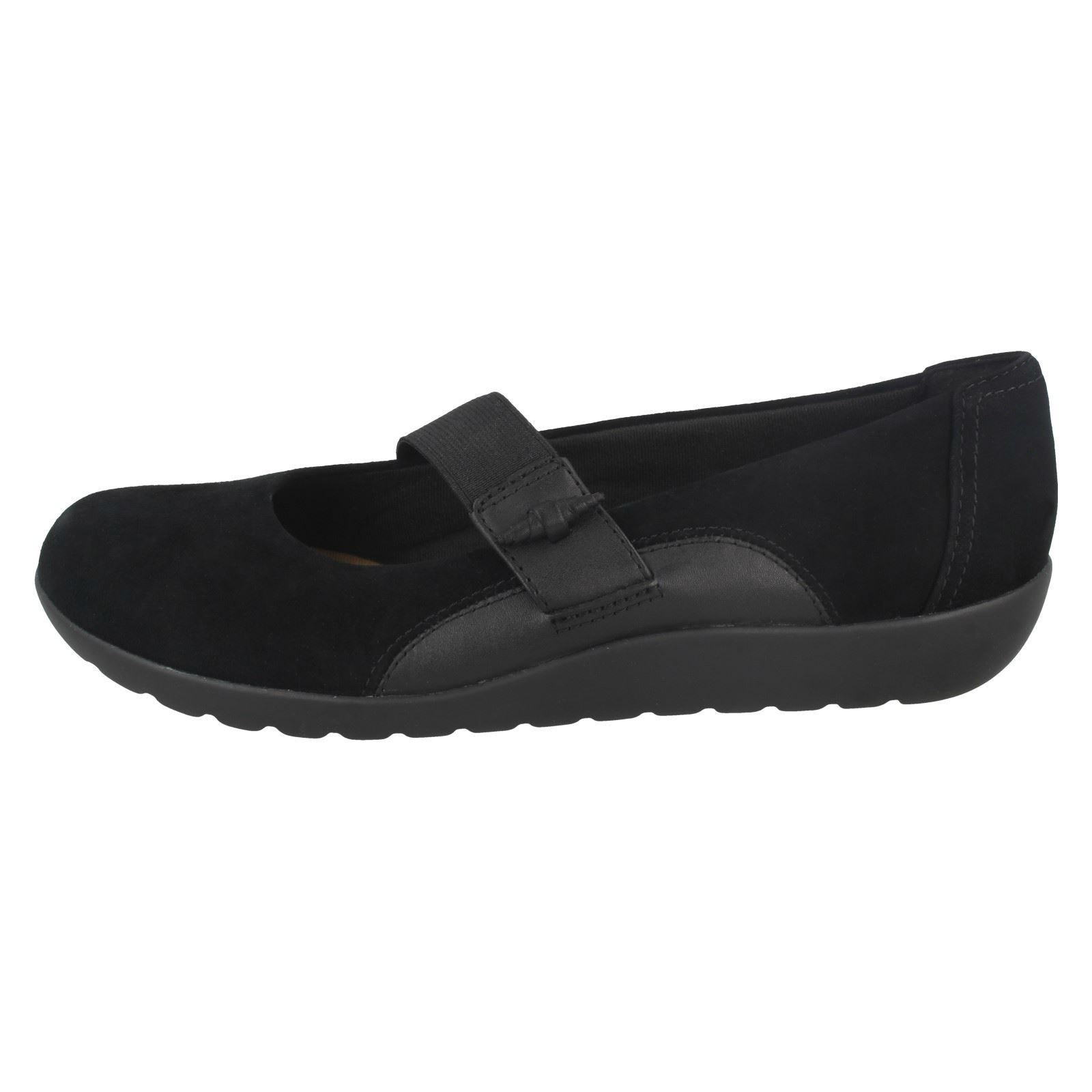 Clarks Black Ladies Elasticated Frost Strap Medora Shoes 6waqrazd