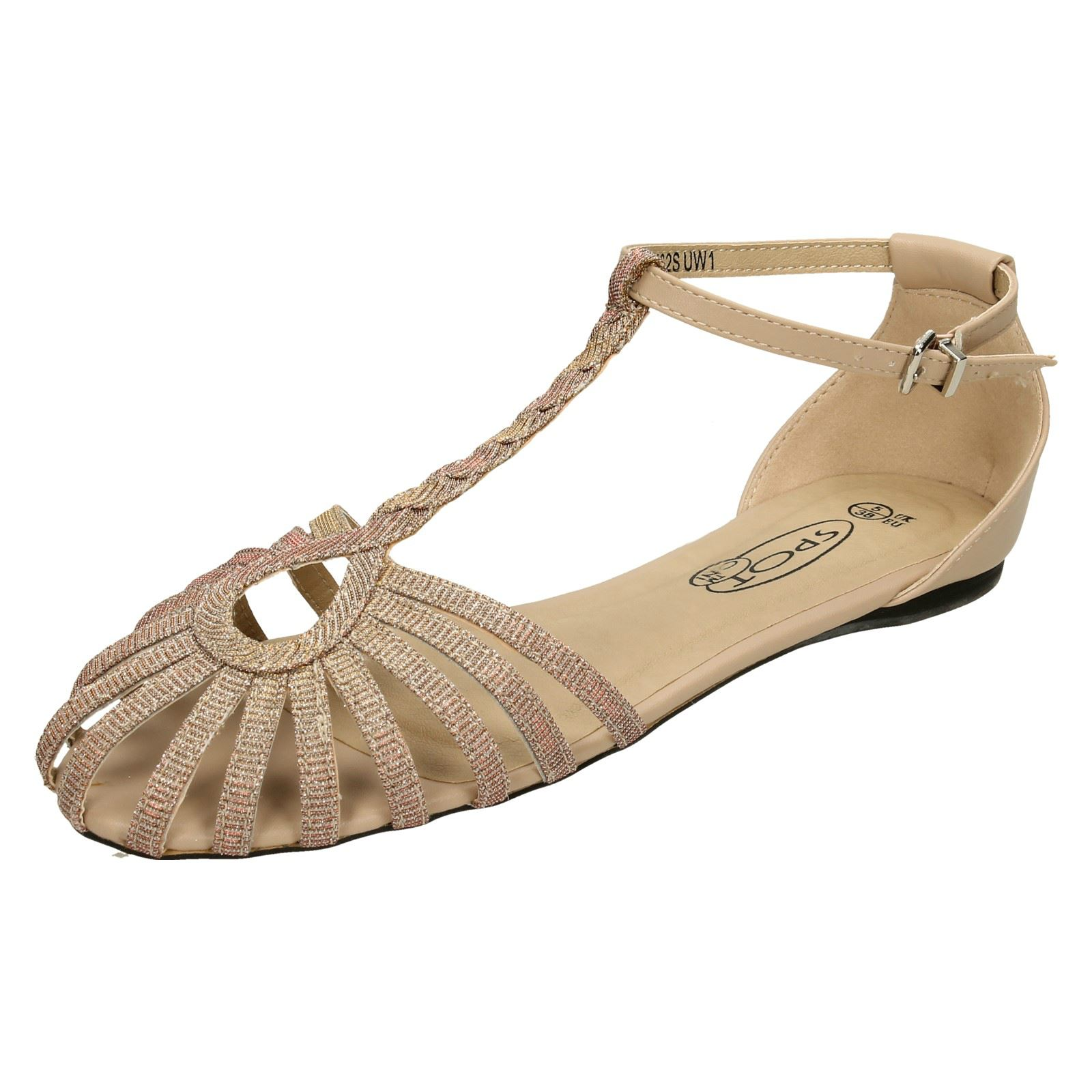 Details about Ladies Spot On Flat T Bar Strappy *Sandals*