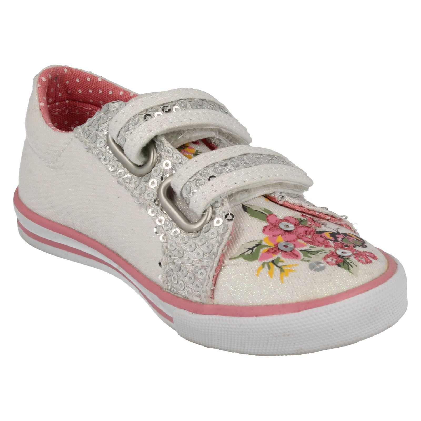 Girls Startrite Glitter Canvas Hook & Loop Riptape Shoes - Amalfi