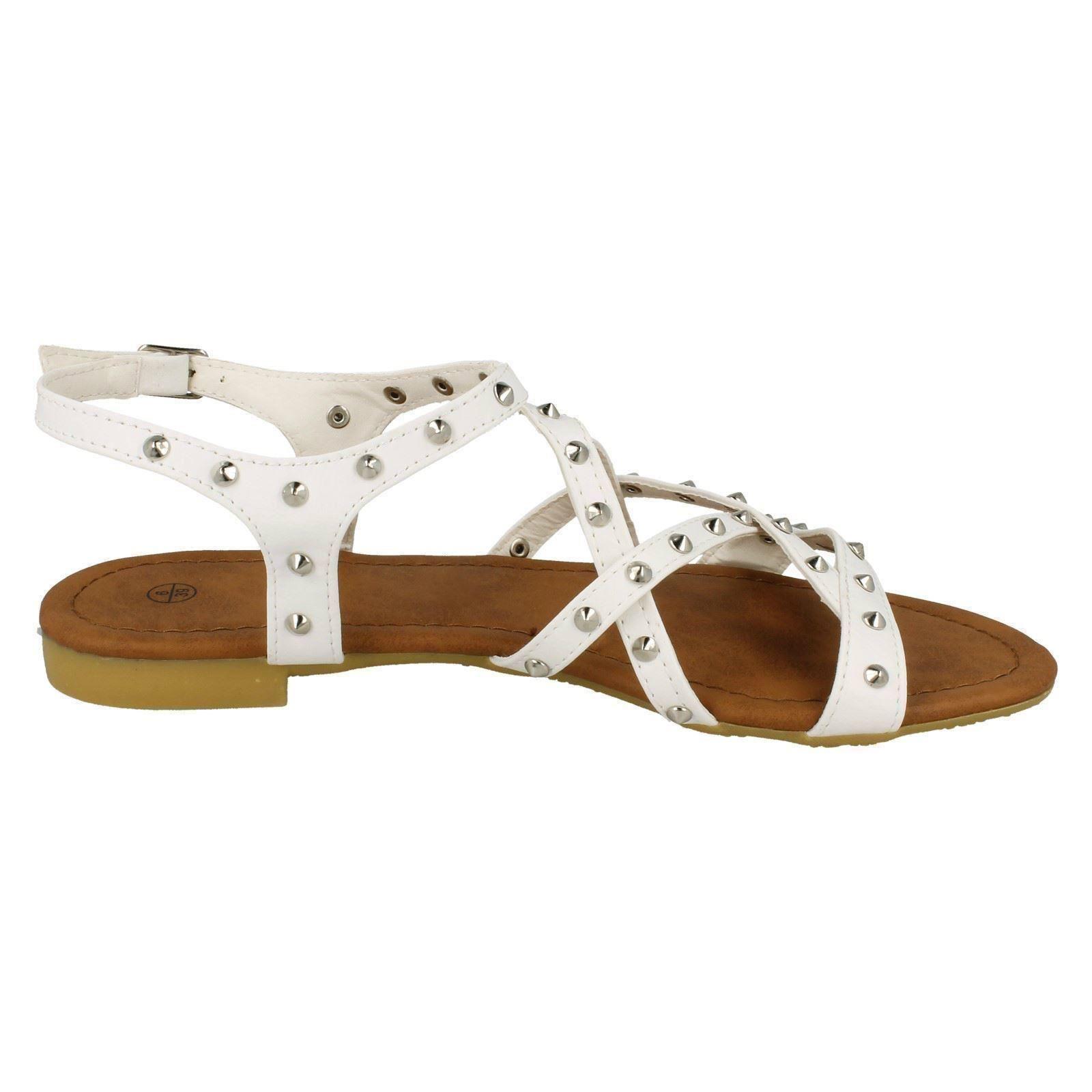 Donna Spot On piatta borchiata x Cinturino alla Caviglia sandali con fibbia