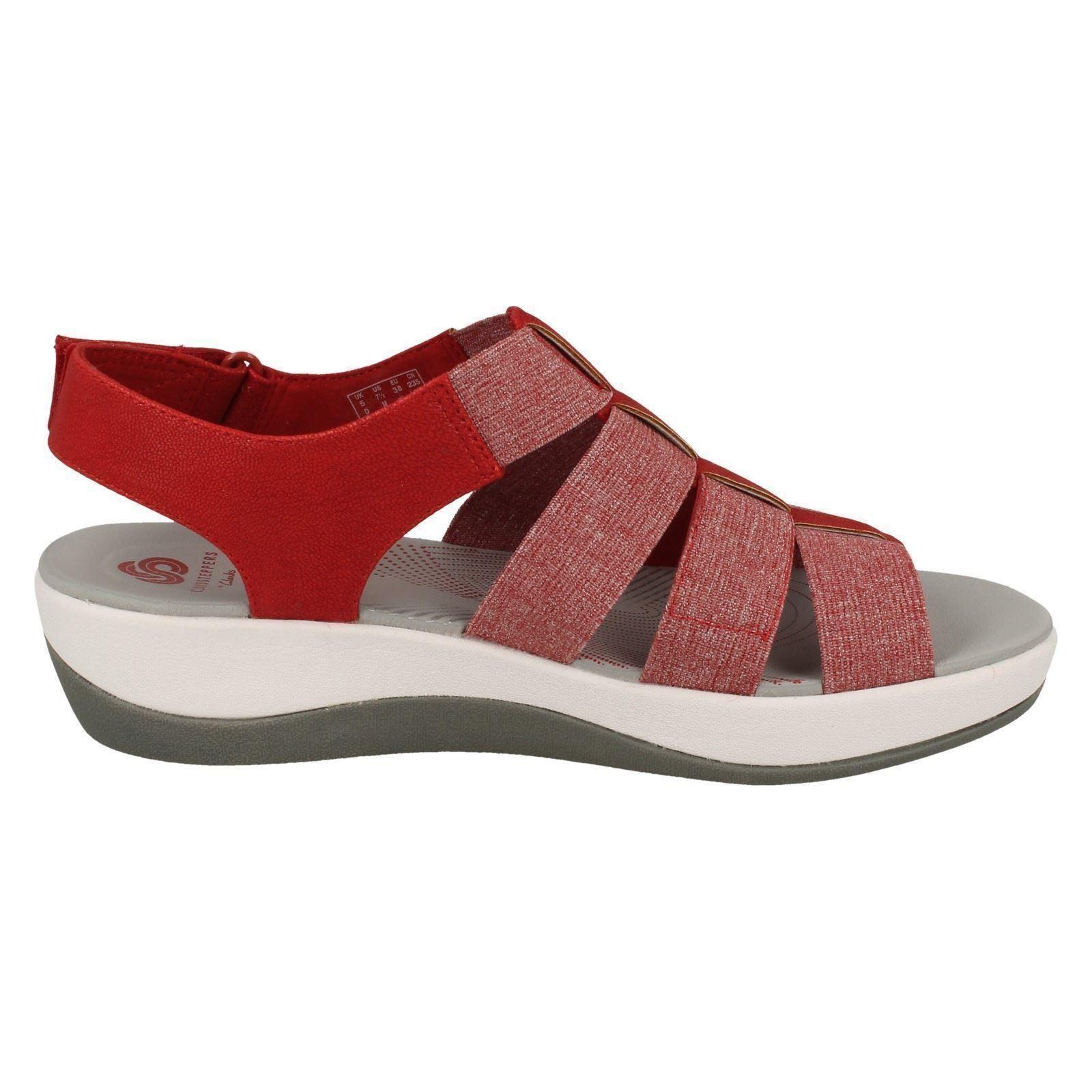 Arla Shaylie Ladies Strappy Sports Rosso bianco Sandalo rosso Clarks IXrwqX