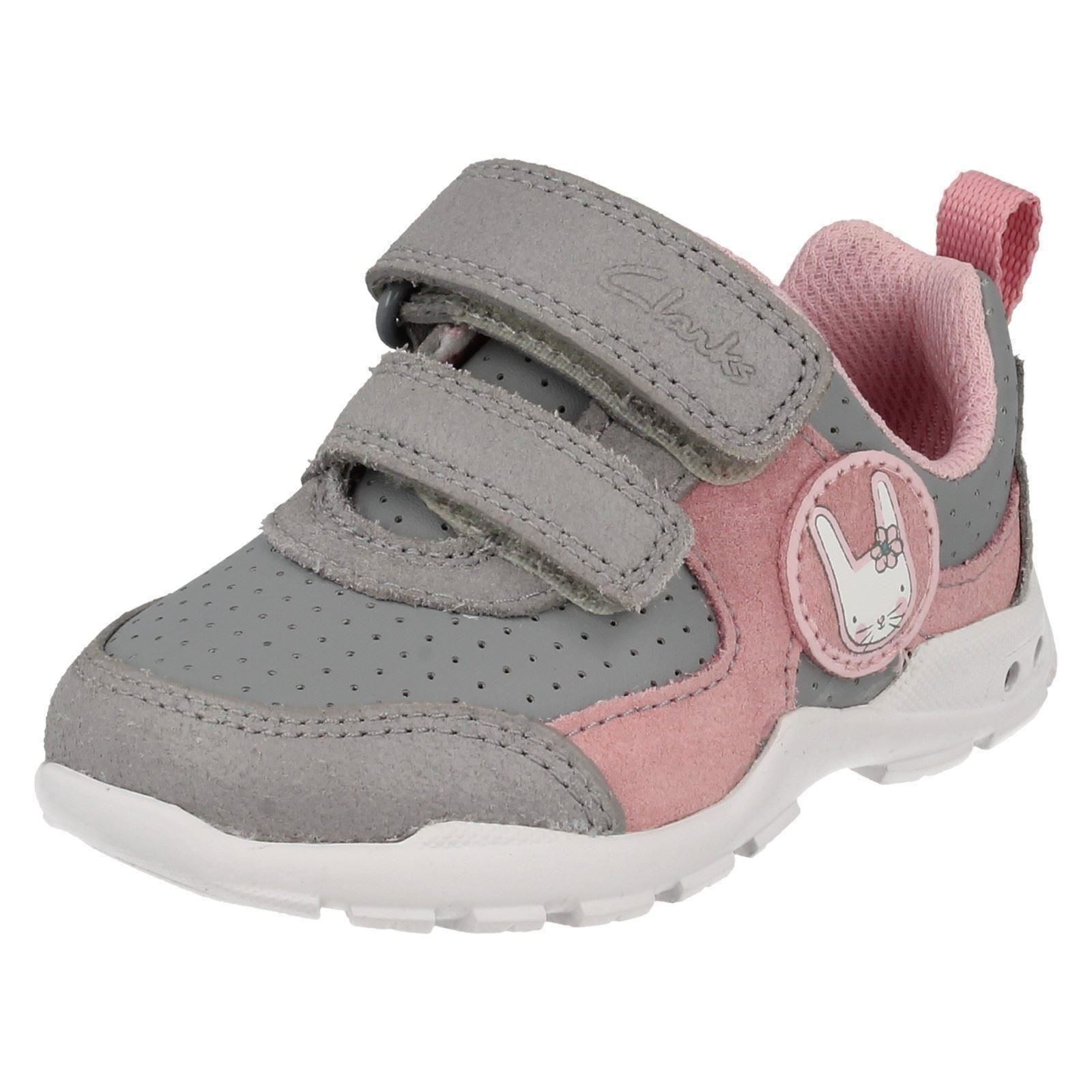 con luces gris Primeros Combi Girls Infant Wizz intermitentes Brite Clarks Gray entrenadores IT1Xw