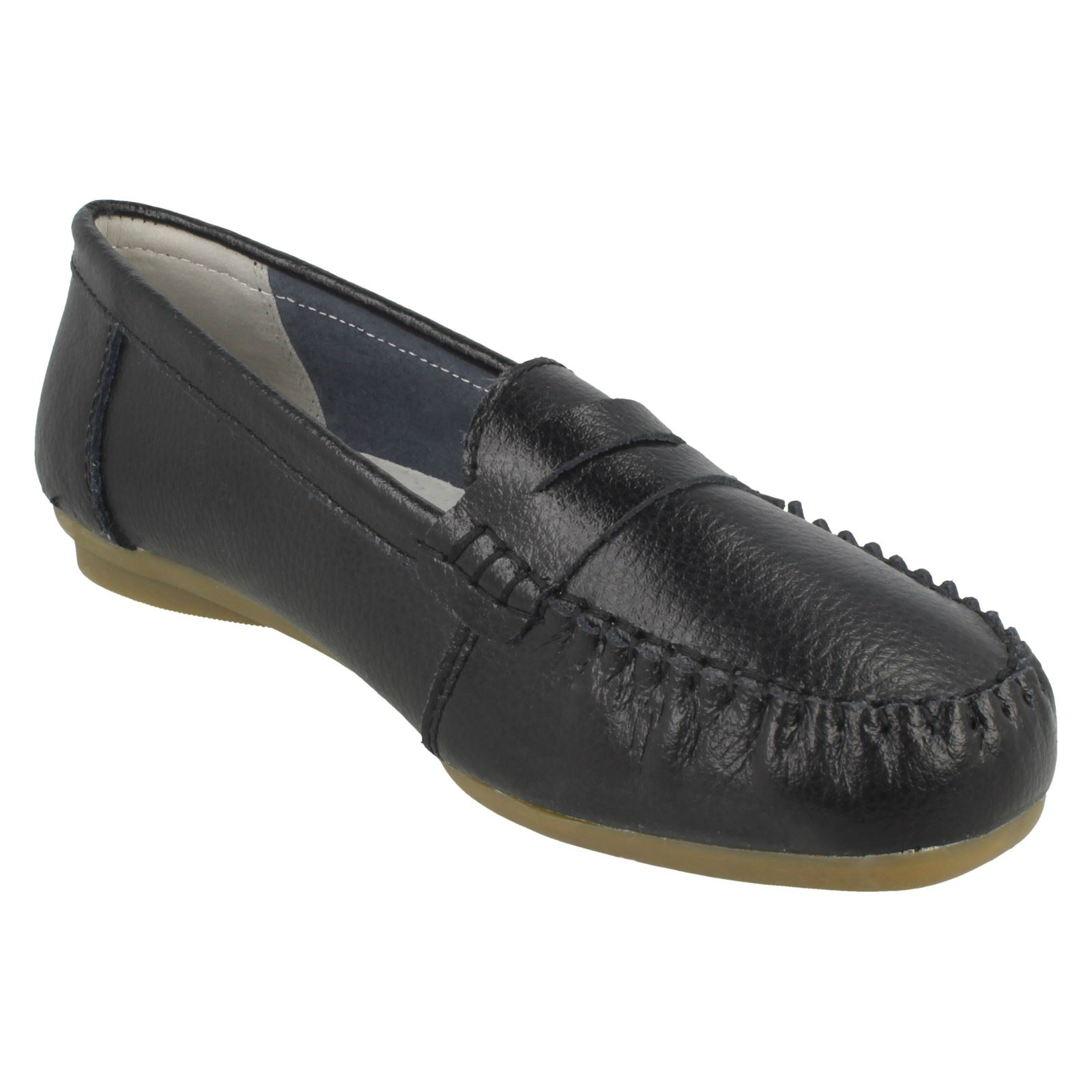 """LADIES DOWN TO EARTH BLACK LEATHER SHOES /""""F8998/"""""""