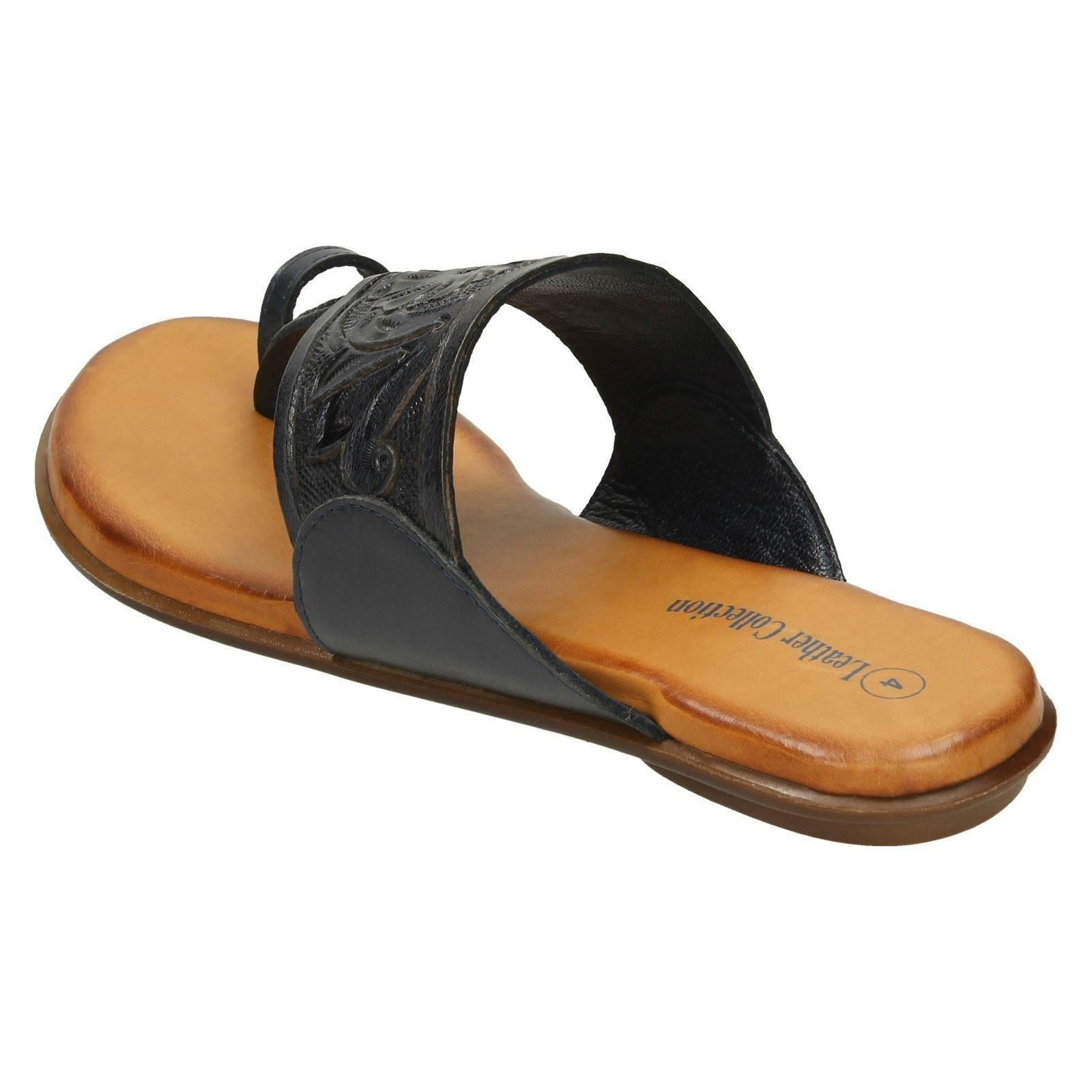 ef889810739 Ladies-Leather-Collection-Flat-Toe-Loop-Sandals thumbnail 17