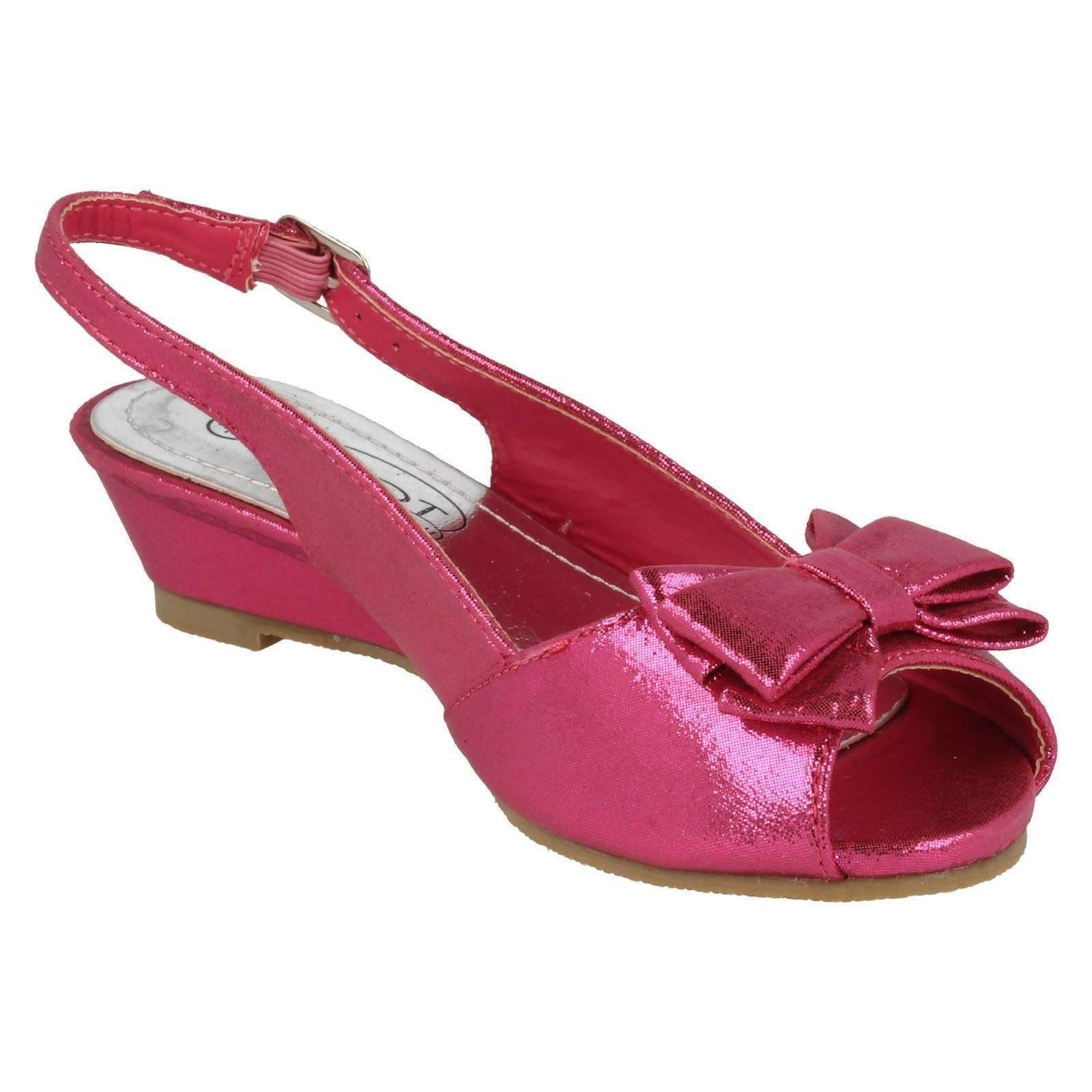 Girls Spot On Peep Toe Party Shoes H1089