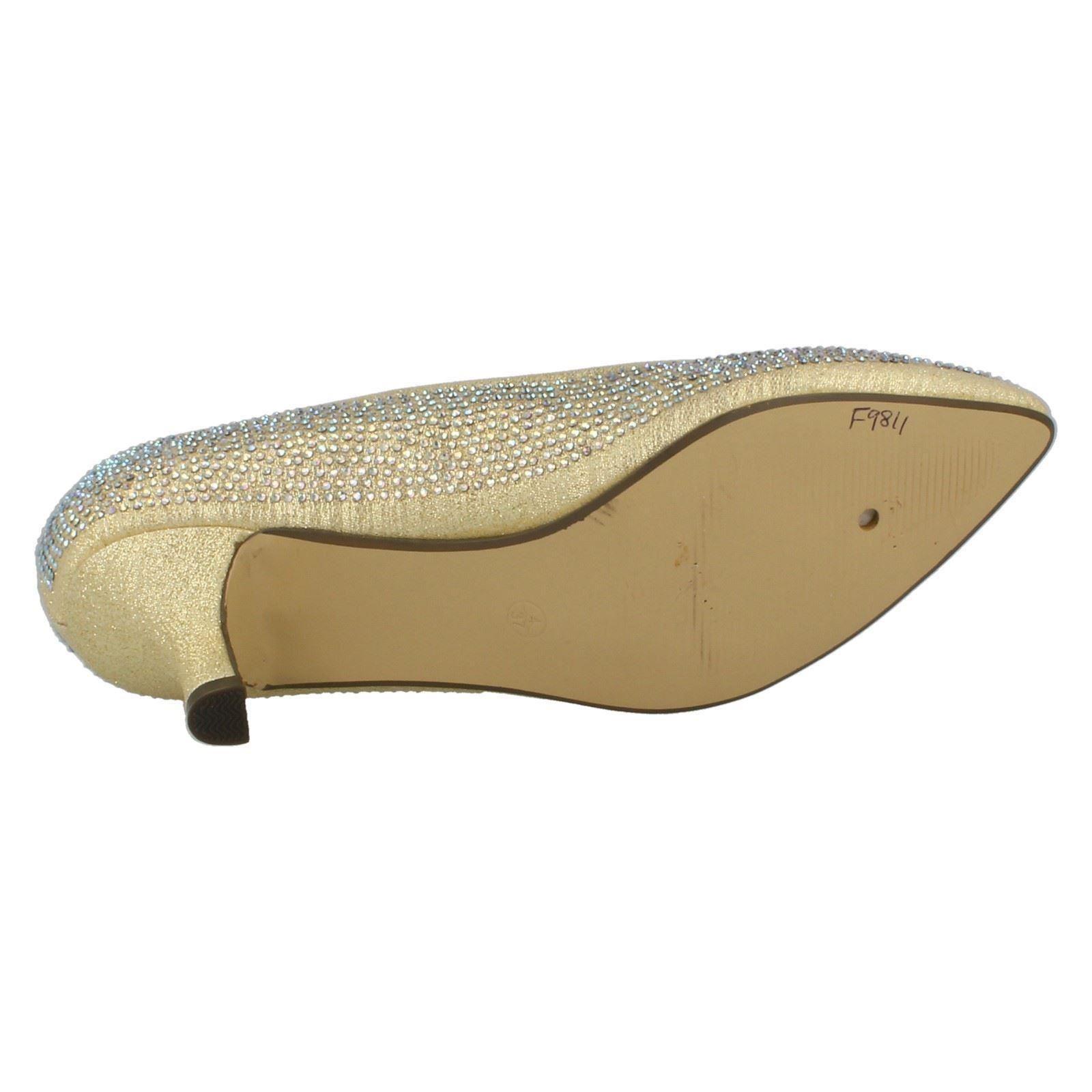 Ladies-Anne-Michelle-Diamante-Low-Heel-Court-Shoes thumbnail 19