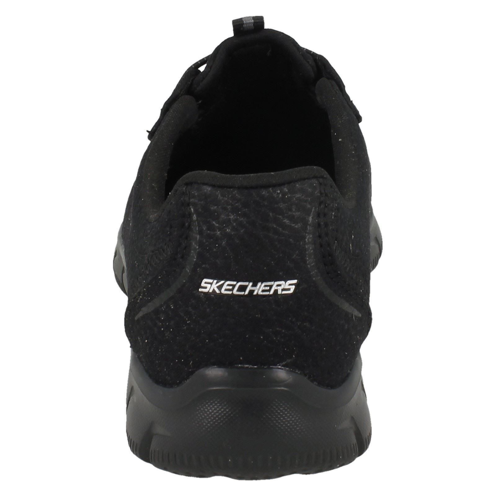 Ta Black Casual On Charge Slip Avrundet Ladies Textile Skechers Trainers Toe 12407 8SwTqcgq