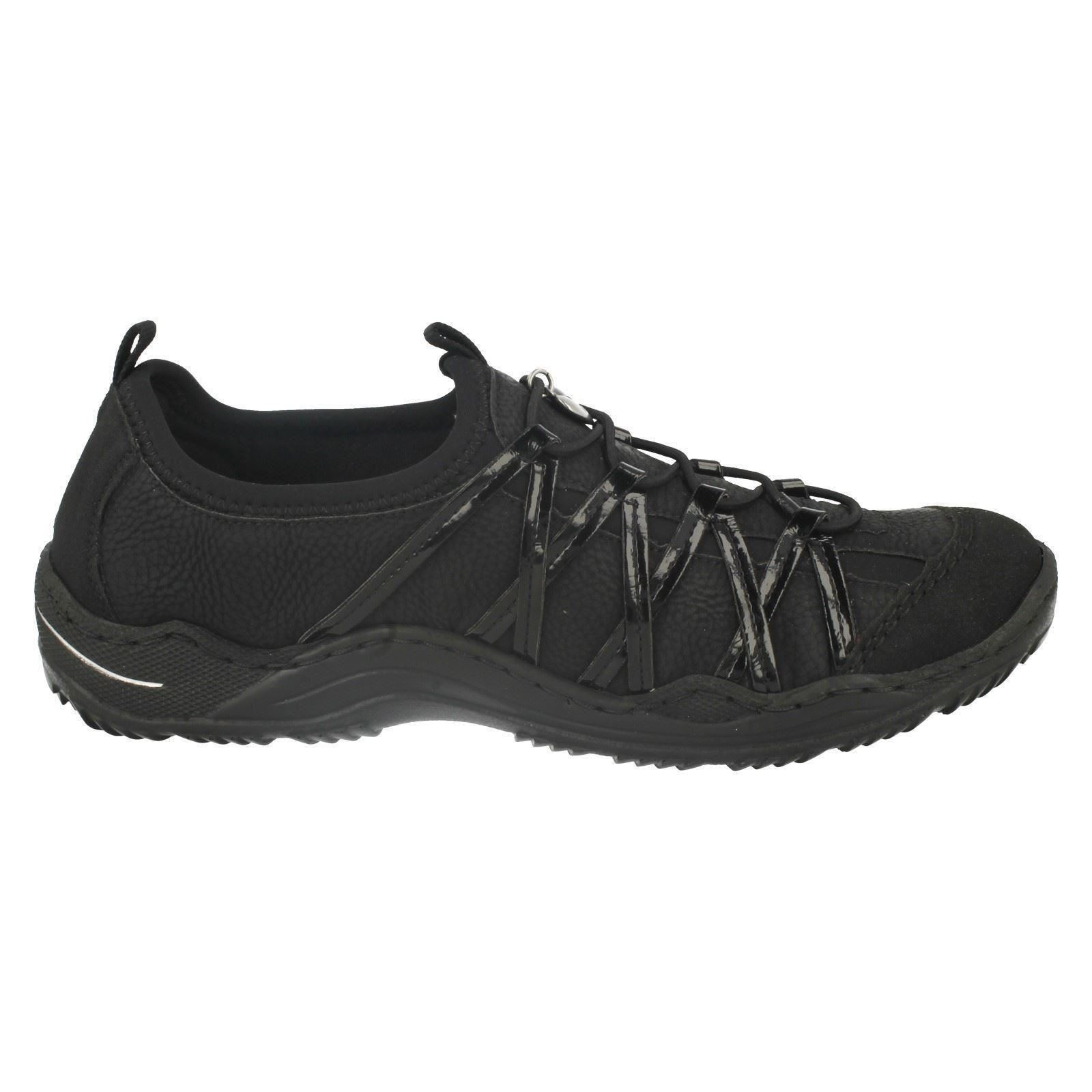 L0564 Rieker Casual Trainers Ladies Noir CAqwO