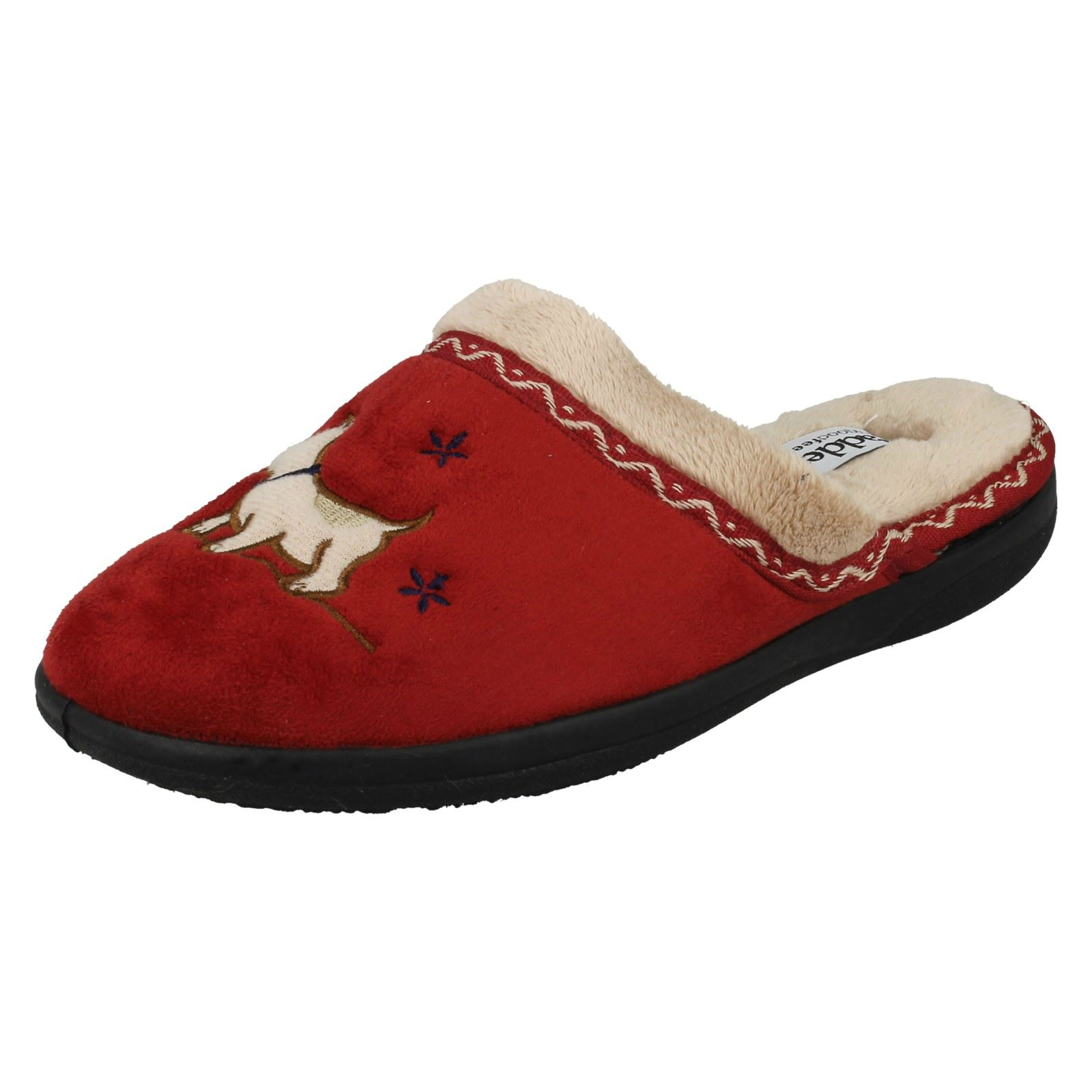 Ladies Padders Slip On Wide Fitting Mule Slippers /'Scotty/' Red and Navy