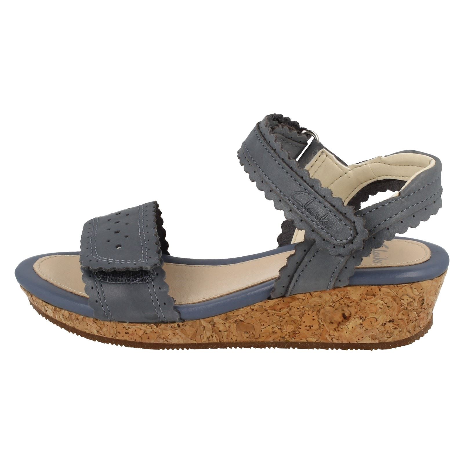 583355dfb7c ... Girls Clarks Wedge Heel Summer Sandals Harpy Myth Denim Blue (blue) UK  10.5 Infant F. About this product. Picture 1 of 10  Picture 2 of 10   Picture 3 of ...