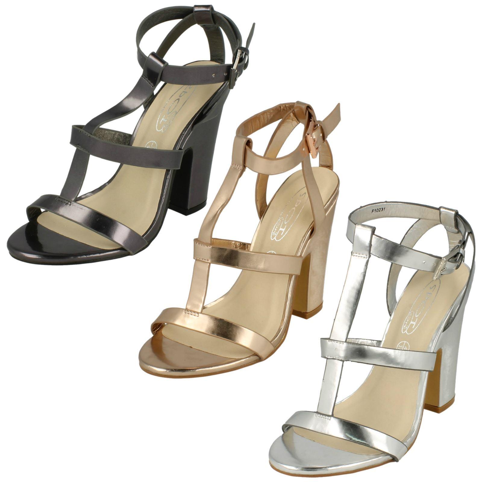 Ladies Spot On Metallic High Heel Sandals  F10231