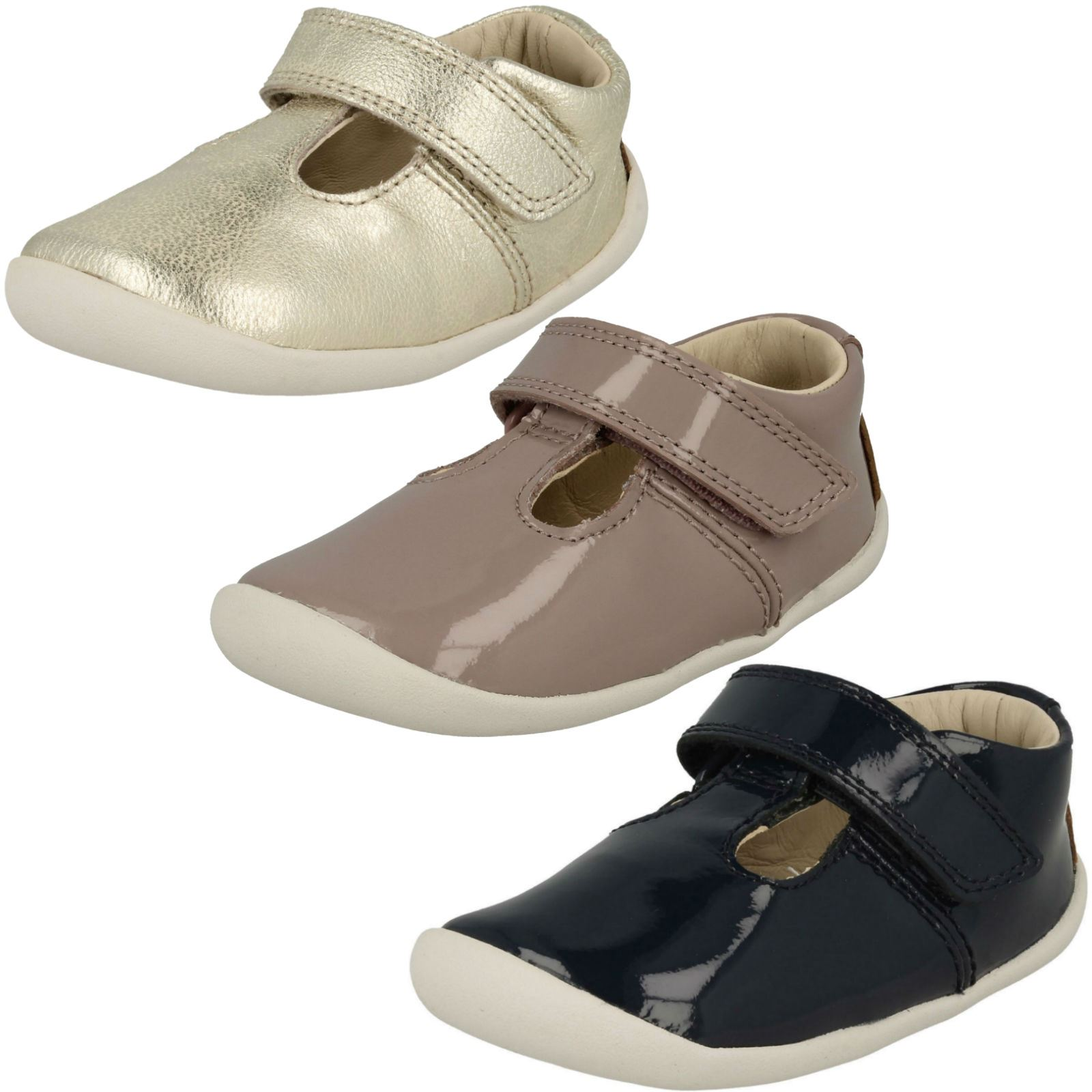 1cf6b04ae7 Girls Clarks T-Bar' First Shoes - Roamer Go | eBay