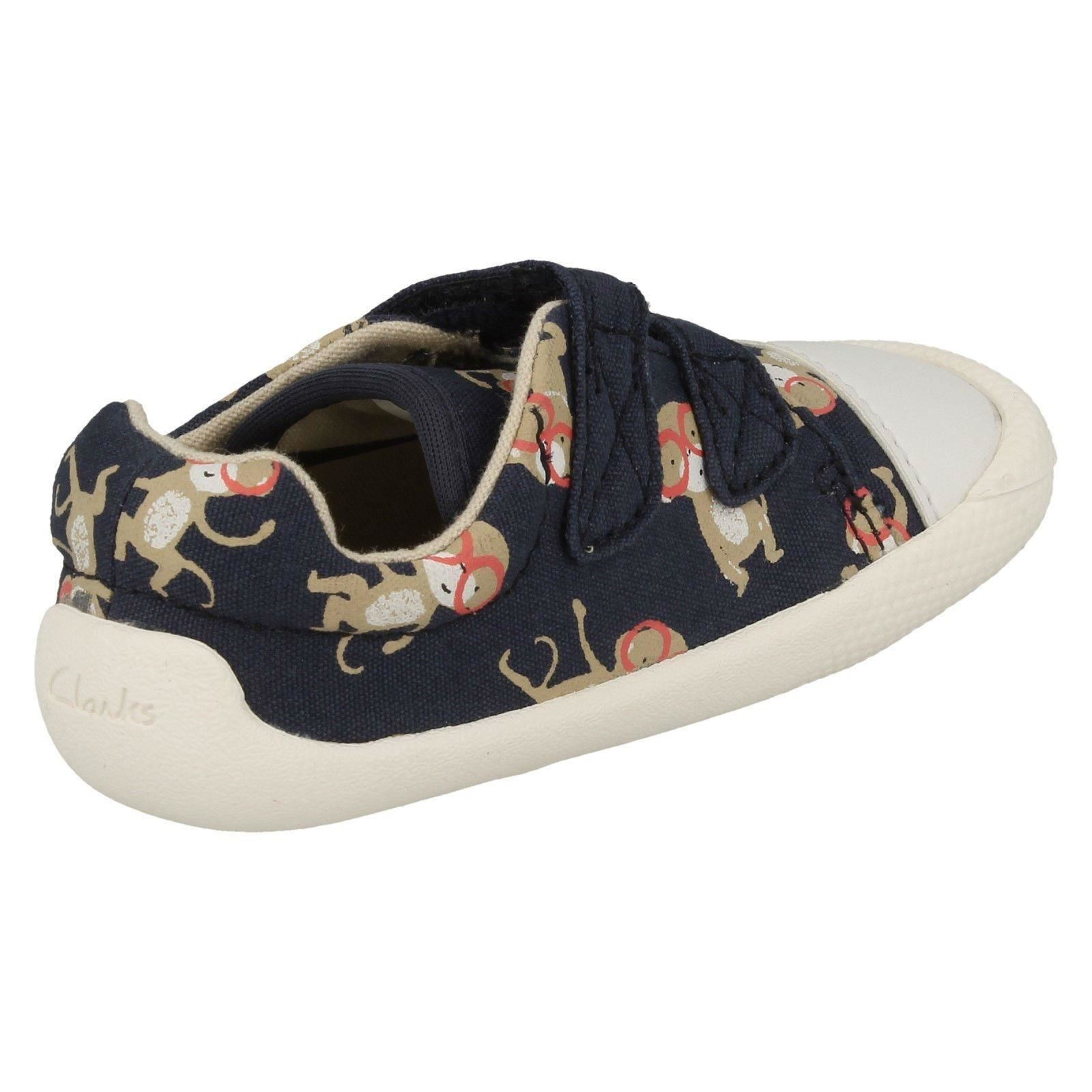 57703f8440b Infant Toddler Baby Boys Clarks Hook   Loop Washable Canvas Shoes ...